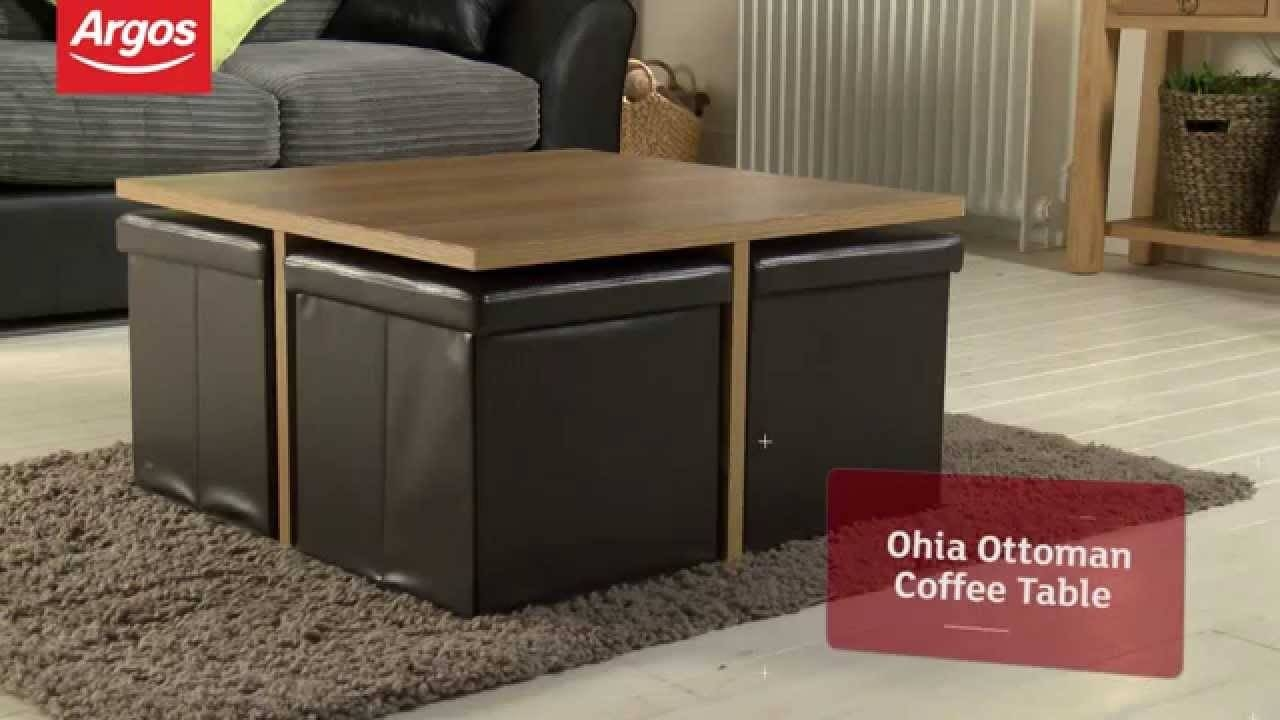 Plush Home Carlisle Coffee Table Ottoman Glass With Ottomans Inside Coffee Tables With Seating And Storage (View 22 of 30)