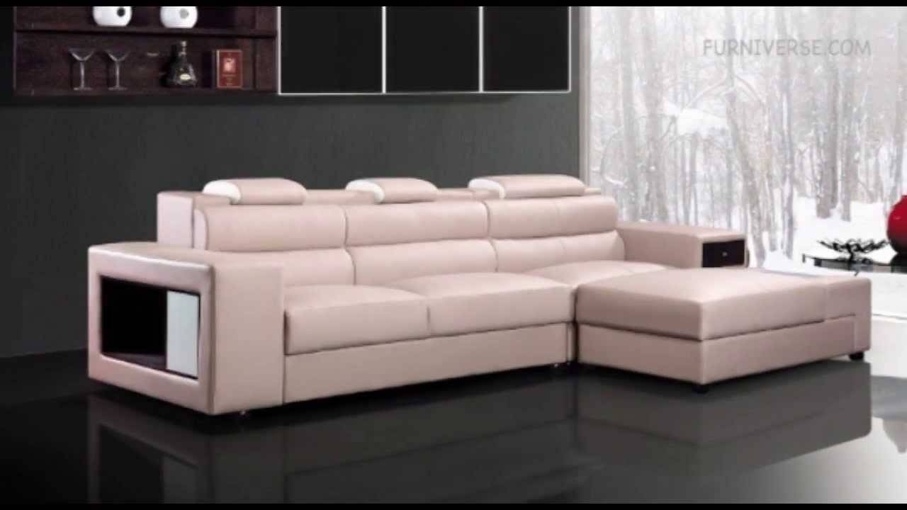 Polaris Mini Contemporary Light Grey Leather Sectional Sofa - Youtube intended for Mini Sectional Sofas (Image 18 of 30)