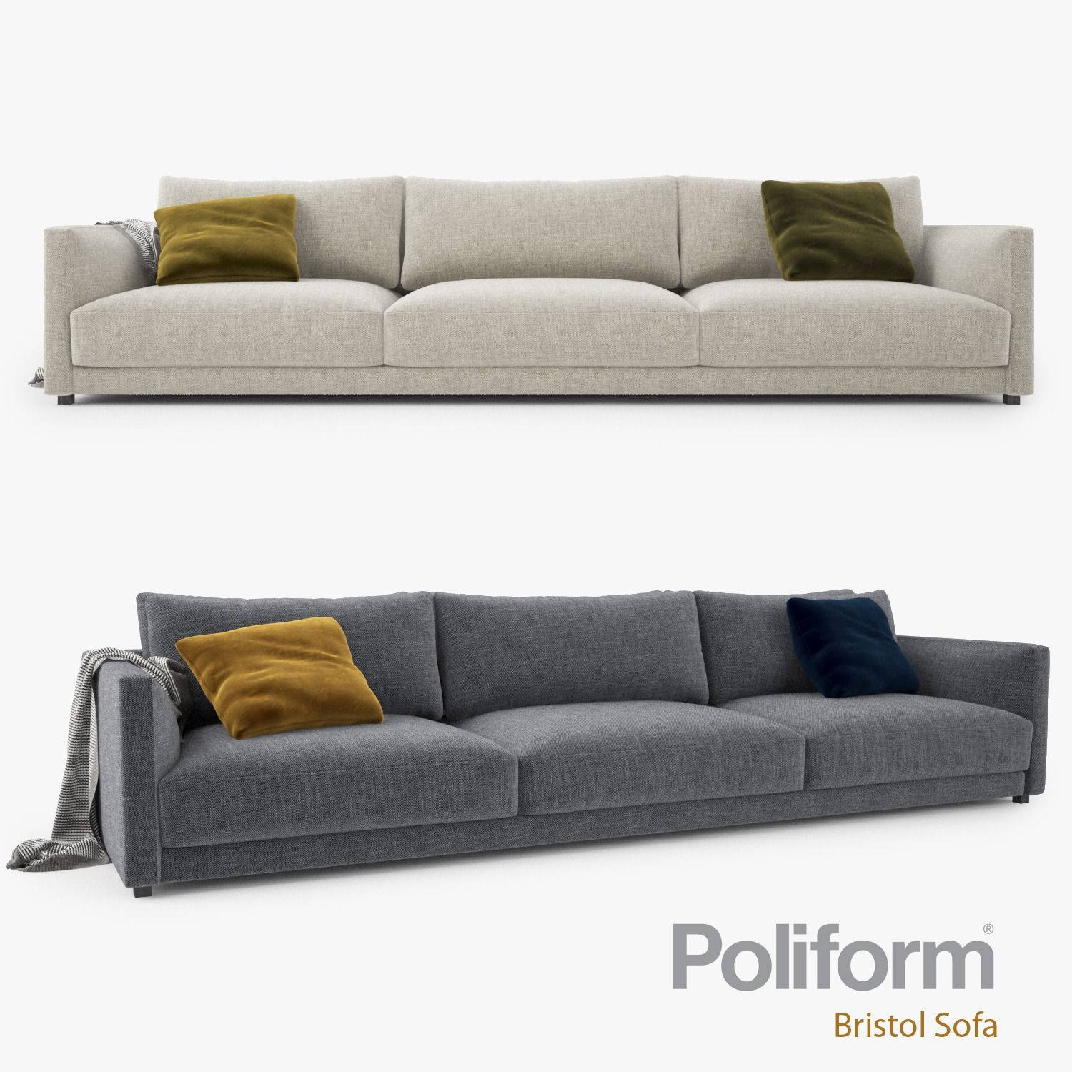 Poliform Bristol Three Seater Sofa 3D Model Max Obj Fbx Mtl intended for Bristol Sofas (Image 16 of 30)