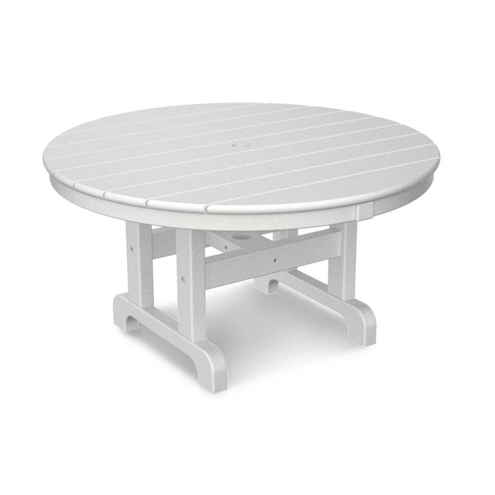 Polywood White 36 In. Round Outdoor Patio Coffee Table-Rct236Wh with Oval White Coffee Tables (Image 25 of 30)
