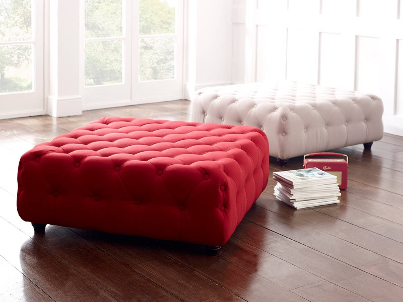 Poppy Upholstered Buttoned Footstool | Living It Up inside Upholstered Footstools (Image 14 of 30)