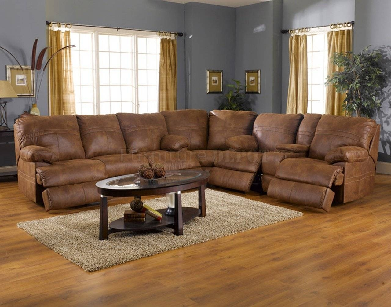 Popular Leather Fabric Sectional Sofa With Rich Tanner Faux inside Faux Leather Sectional Sofas (Image 15 of 25)