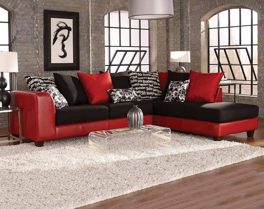 Popular Red And Black Sectional Sofa 88 On Reclining Sectional Intended For Red Sectional Sleeper Sofas (Photo 13 of 30)