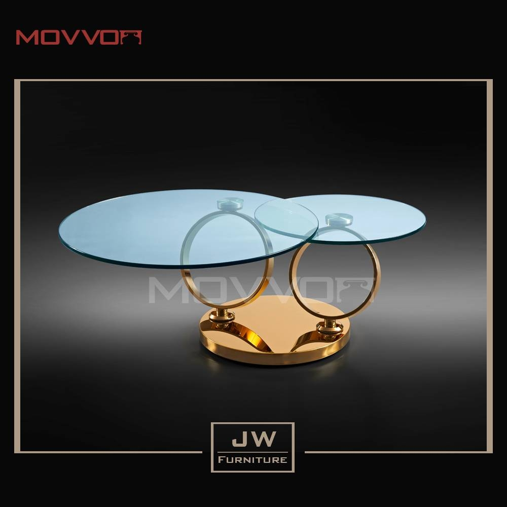 Popular Round Tempered Glass Swivel Coffee Table With Gold Base in Swivel Coffee Tables (Image 23 of 30)