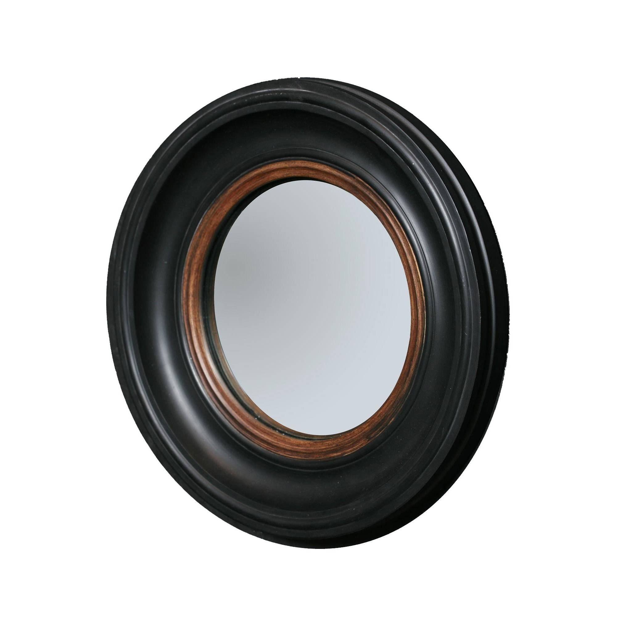 Porthole Mirror In Black And Gold - Small throughout Black Convex Mirrors (Image 14 of 25)