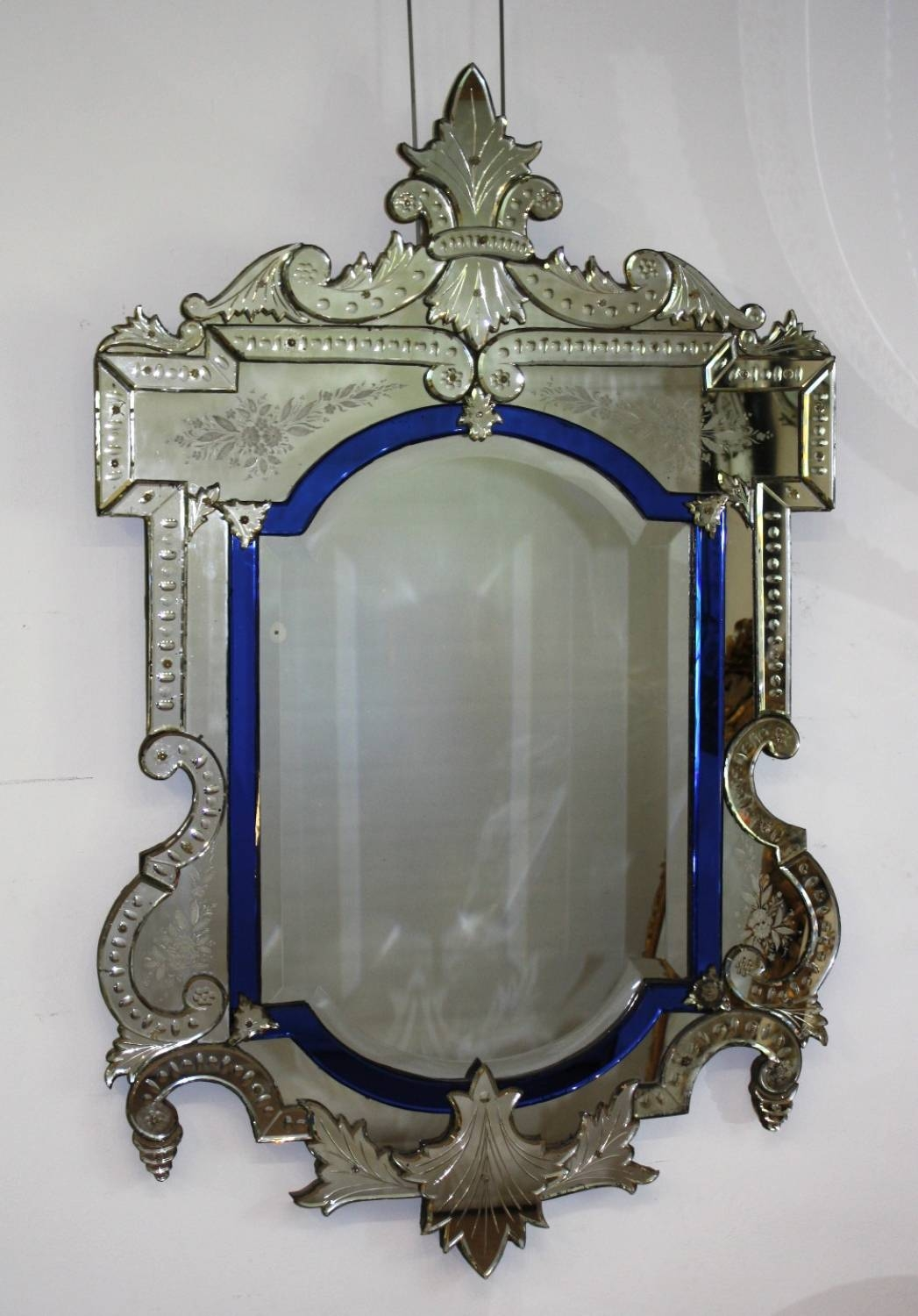 Portrait Venetian With Blue Border within Venetian Antique Mirrors (Image 20 of 25)