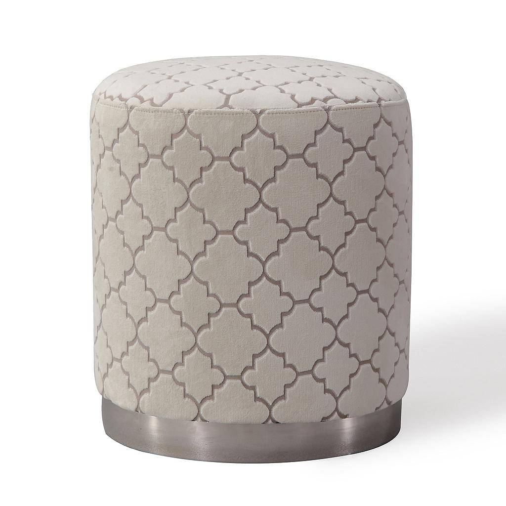 Pouf Top Light Grey Velvet Ottoman Footstool Gold Base with regard to Velvet Footstool (Image 27 of 30)