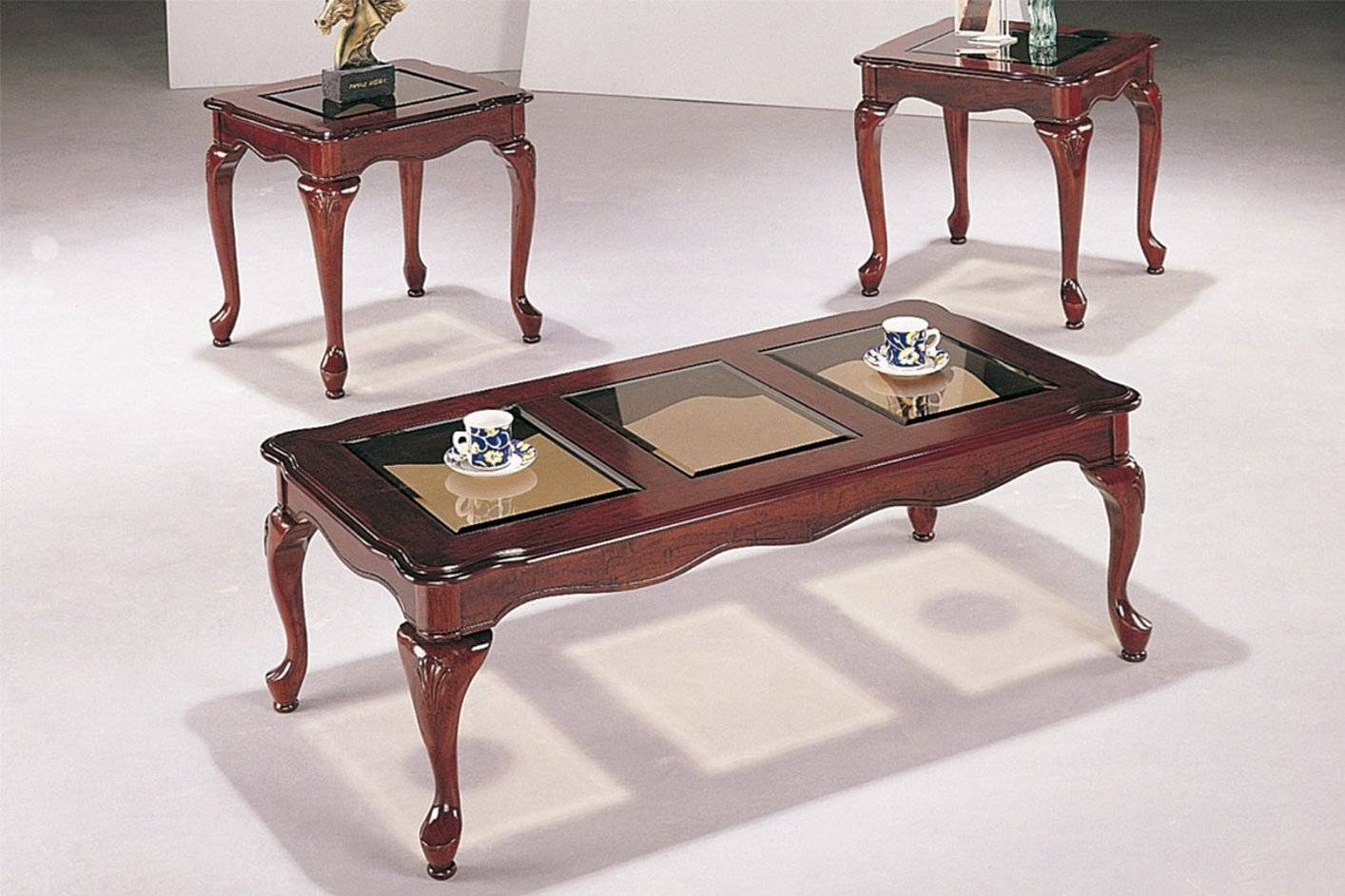 Poundex F3088 Brown Wood Coffee Table Set - Steal-A-Sofa Furniture inside Cherry Wood Coffee Table Sets (Image 28 of 30)