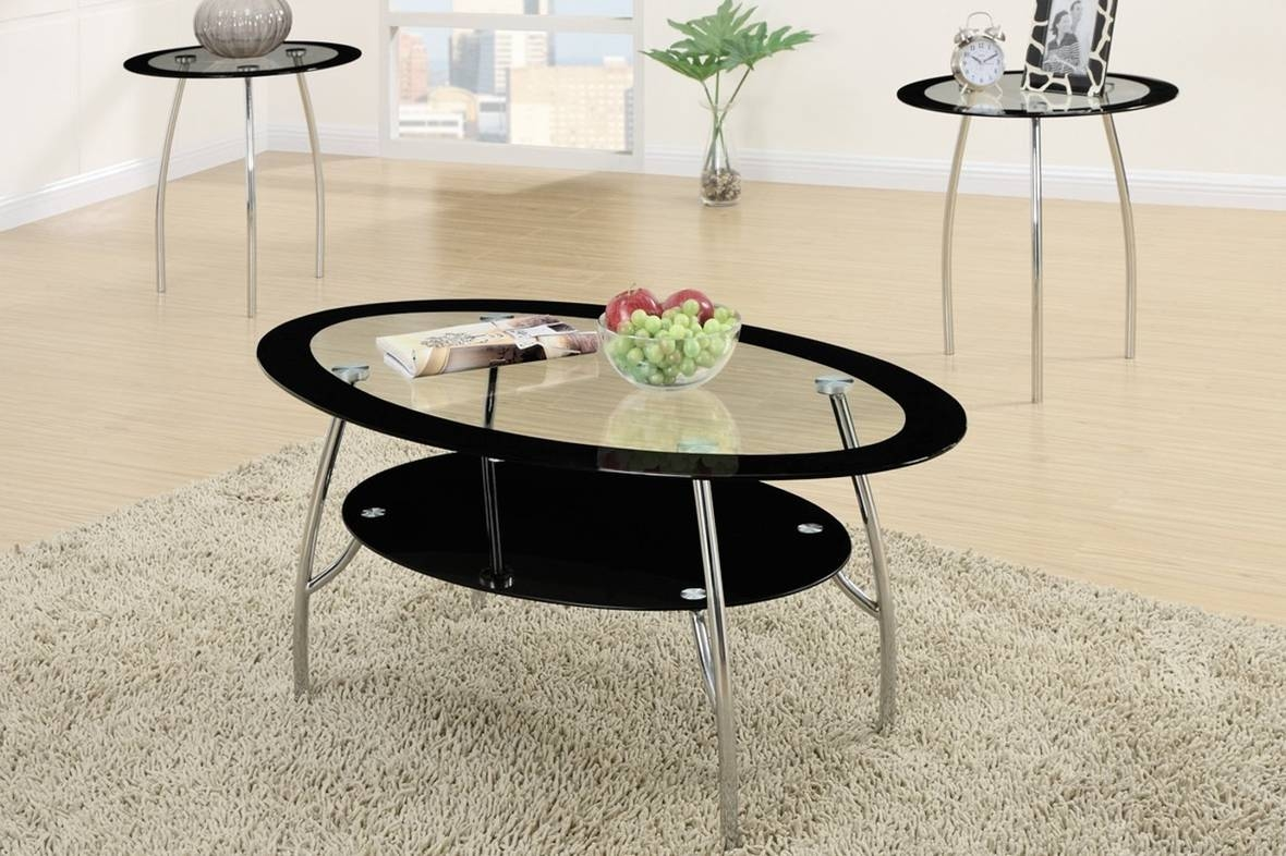 Poundex F3099 Black Glass Coffee Table Set - Steal-A-Sofa in Black Glass Coffee Tables (Image 24 of 30)