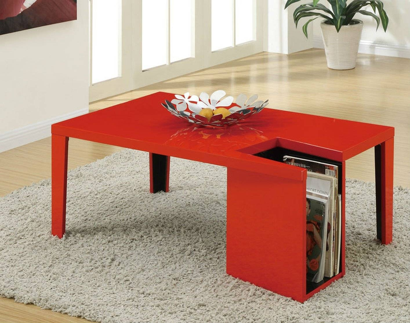Poundex F6301 Red Wood Coffee Table - Steal-A-Sofa Furniture within Red Coffee Table (Image 21 of 30)