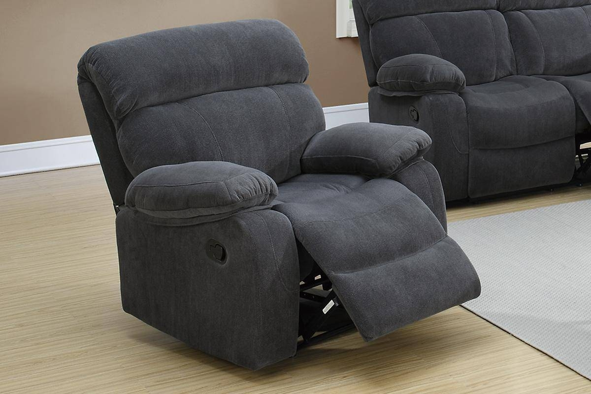 Poundex F6789 Grey Fabric Rocker Recliner Chair - Steal-A-Sofa intended for Rocking Sofa Chairs (Image 15 of 30)