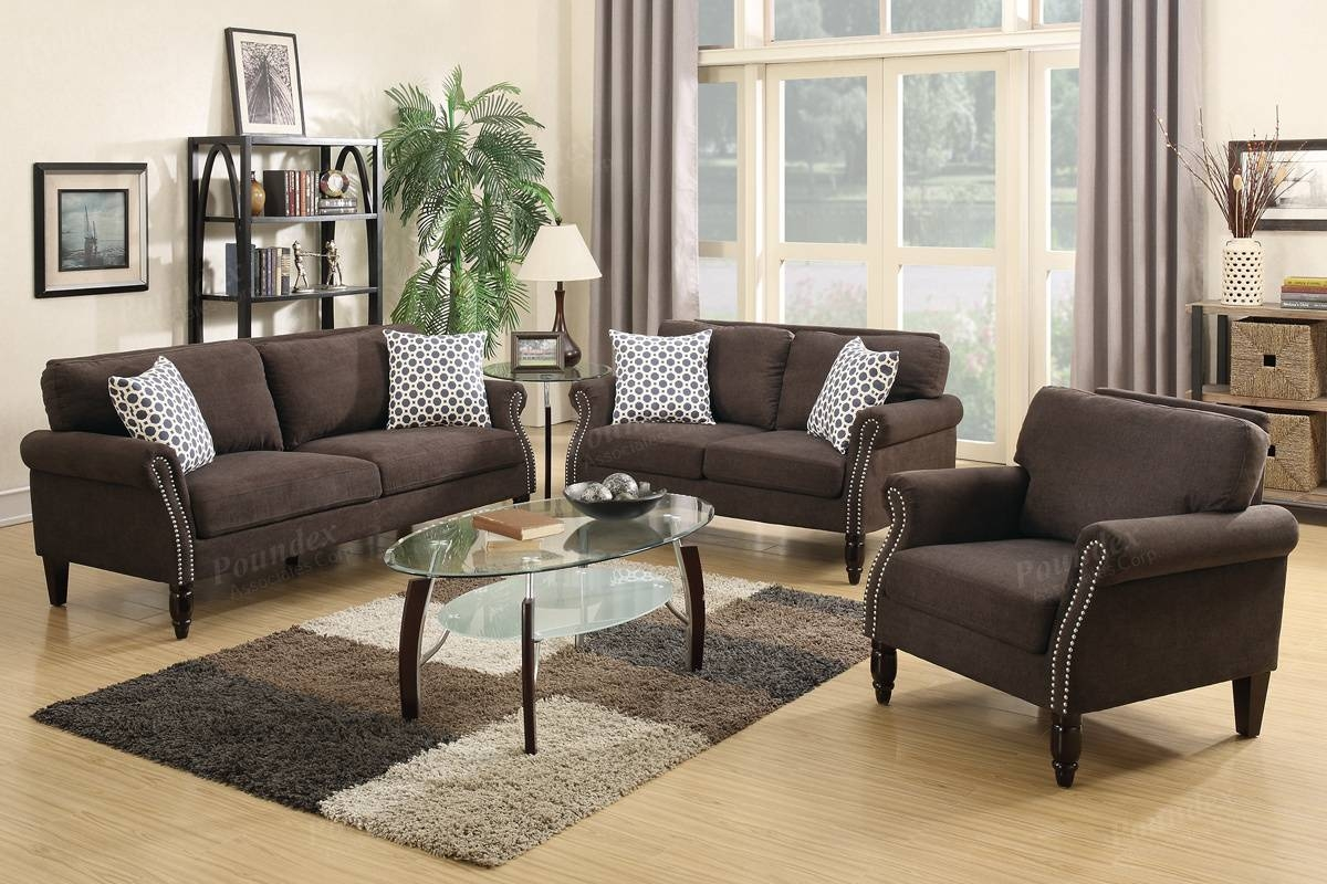 Poundex Hypnos F6924 Brown Fabric Sofa Loveseat And Chair Set Pertaining To Sofa Loveseat And Chair Set (View 21 of 30)