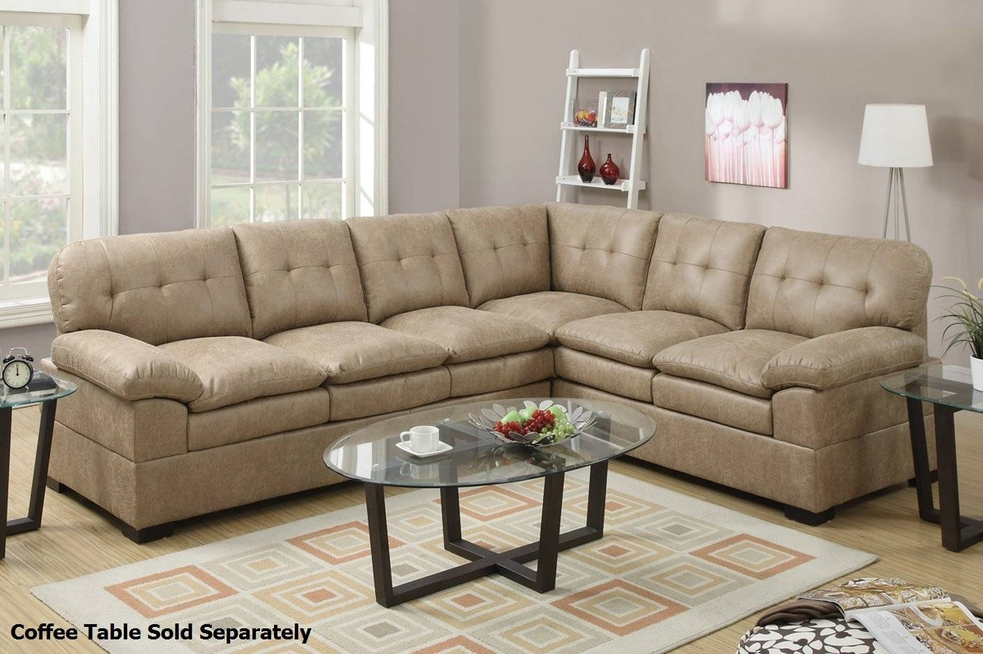 Poundex Tyson F7684 Brown Fabric Sectional Sofa - Steal-A-Sofa for Cloth Sectional Sofas (Image 27 of 30)