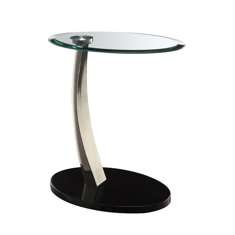 Powell Black Glass Top Side Table-317-892 - The Home Depot in Oval Black Glass Coffee Tables (Image 25 of 30)