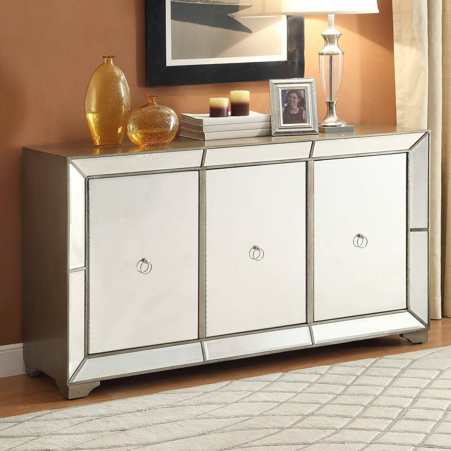 Powell Furniture 14Bo8083Cc Bombay Monterey Mirrored Sideboard In intended for Mirrored Sideboard Furniture (Image 11 of 30)
