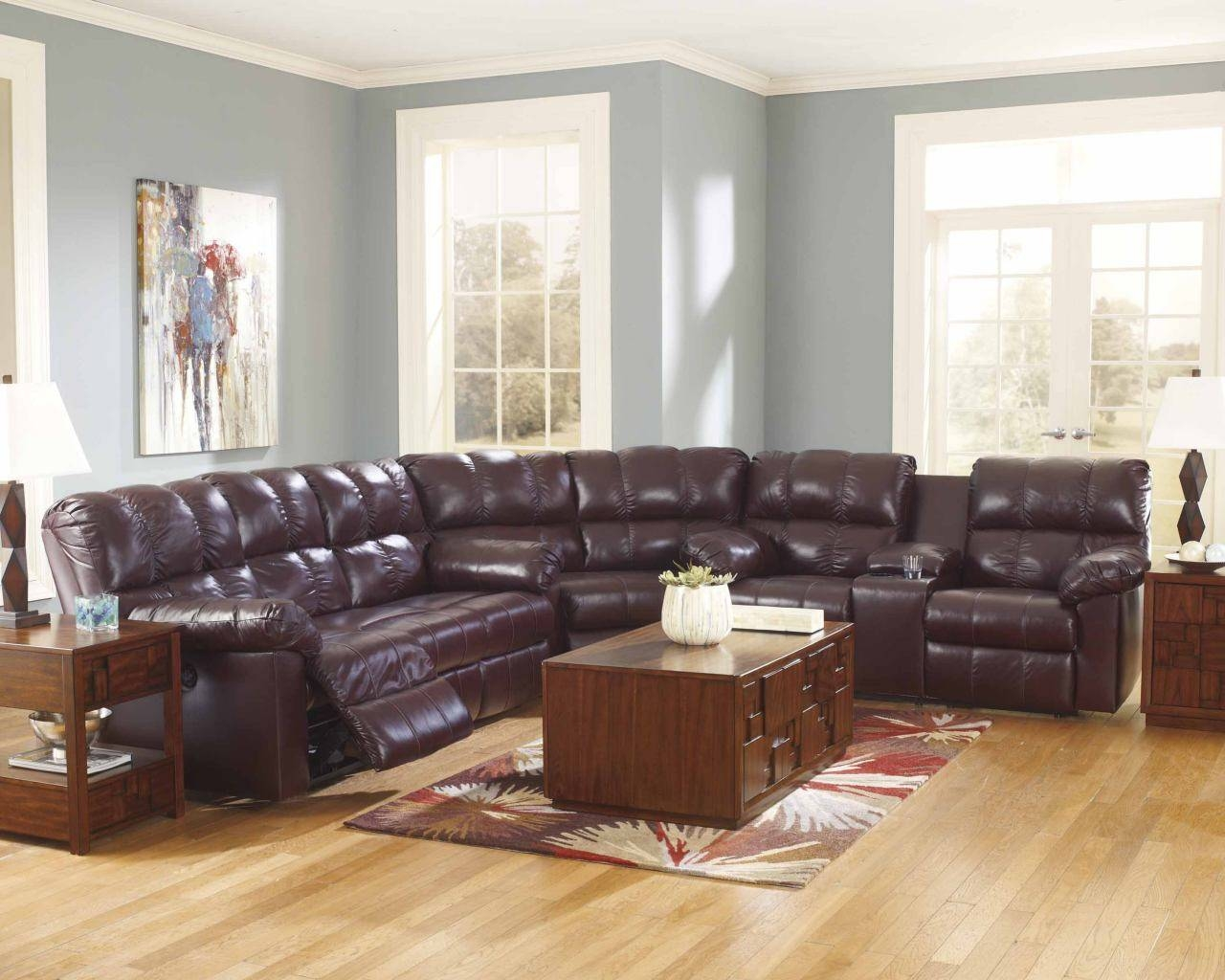 Power Reclining Sectional Sofa In Burgundy 290 in Recliner Sectional Sofas (Image 25 of 30)