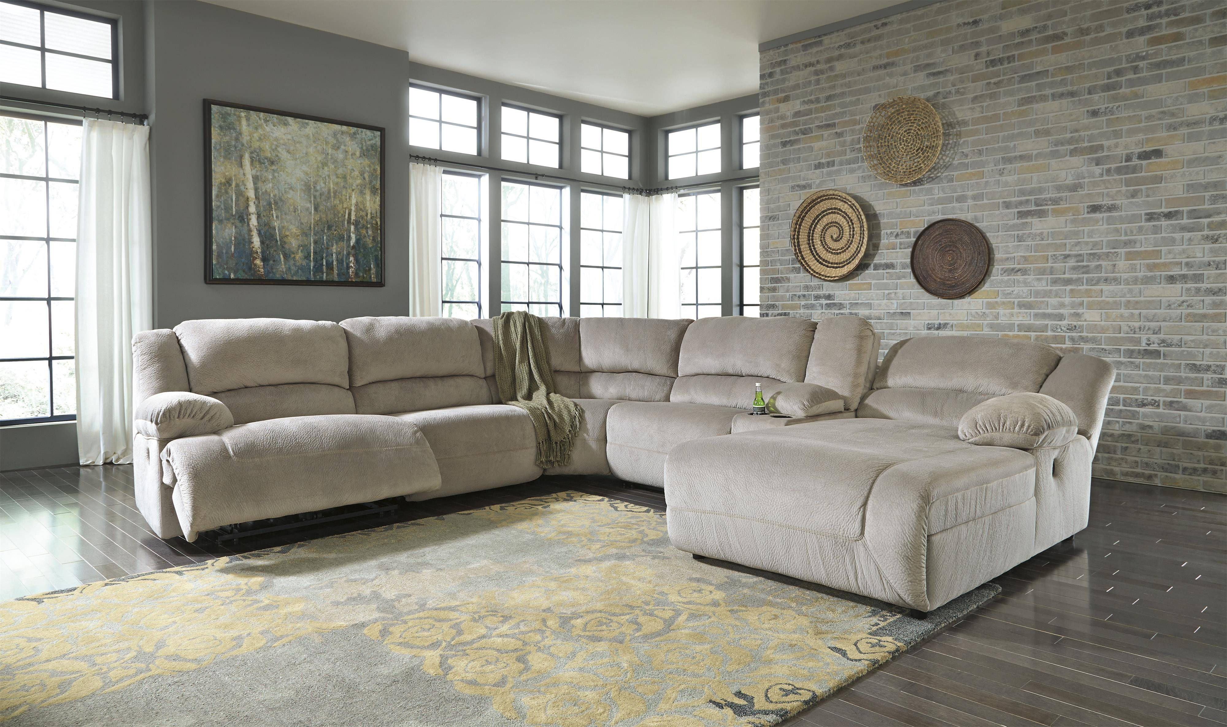 Power Reclining Sectional With Console & Right Press Back Chaise within Sofa Back Console (Image 17 of 30)