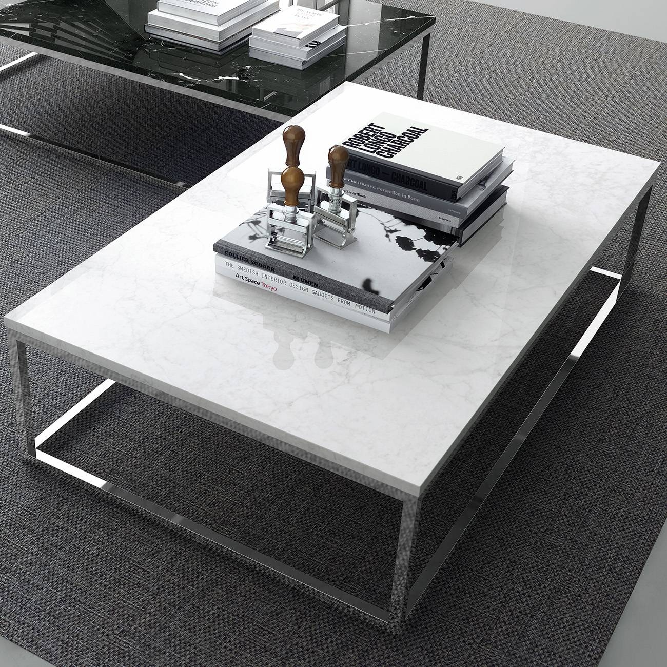 Prairie Coffee Table | White Marble Top | Chrome Legs, Tema Home inside White and Chrome Coffee Tables (Image 23 of 30)