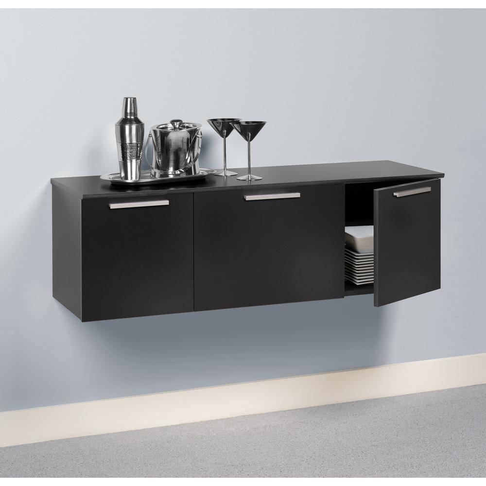 Prepac Coal Harbor Black Buffet With Storage-Bcbw-0203-1 - The in Black Sideboards (Image 15 of 30)