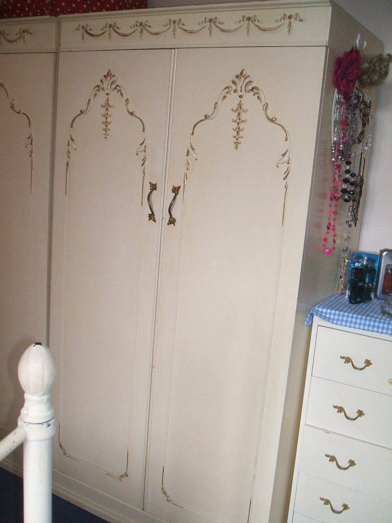 Pretty Vintage Shabby Chic Cream Ornate French Louis Style Pertaining To Cream French Wardrobes (View 8 of 15)