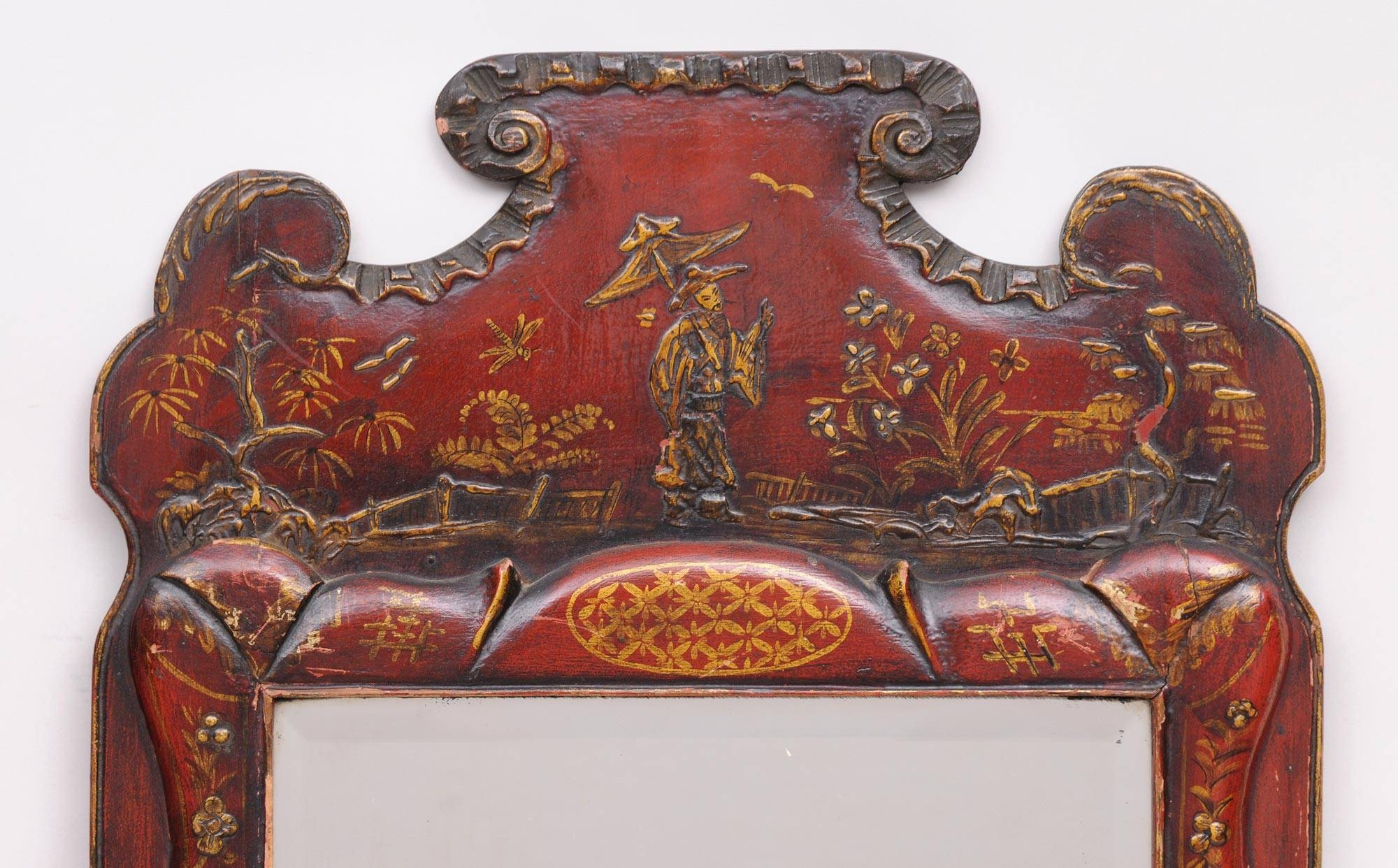 Product » Pair Red Chinoiserie Mirrors inside Red Mirrors (Image 19 of 25)