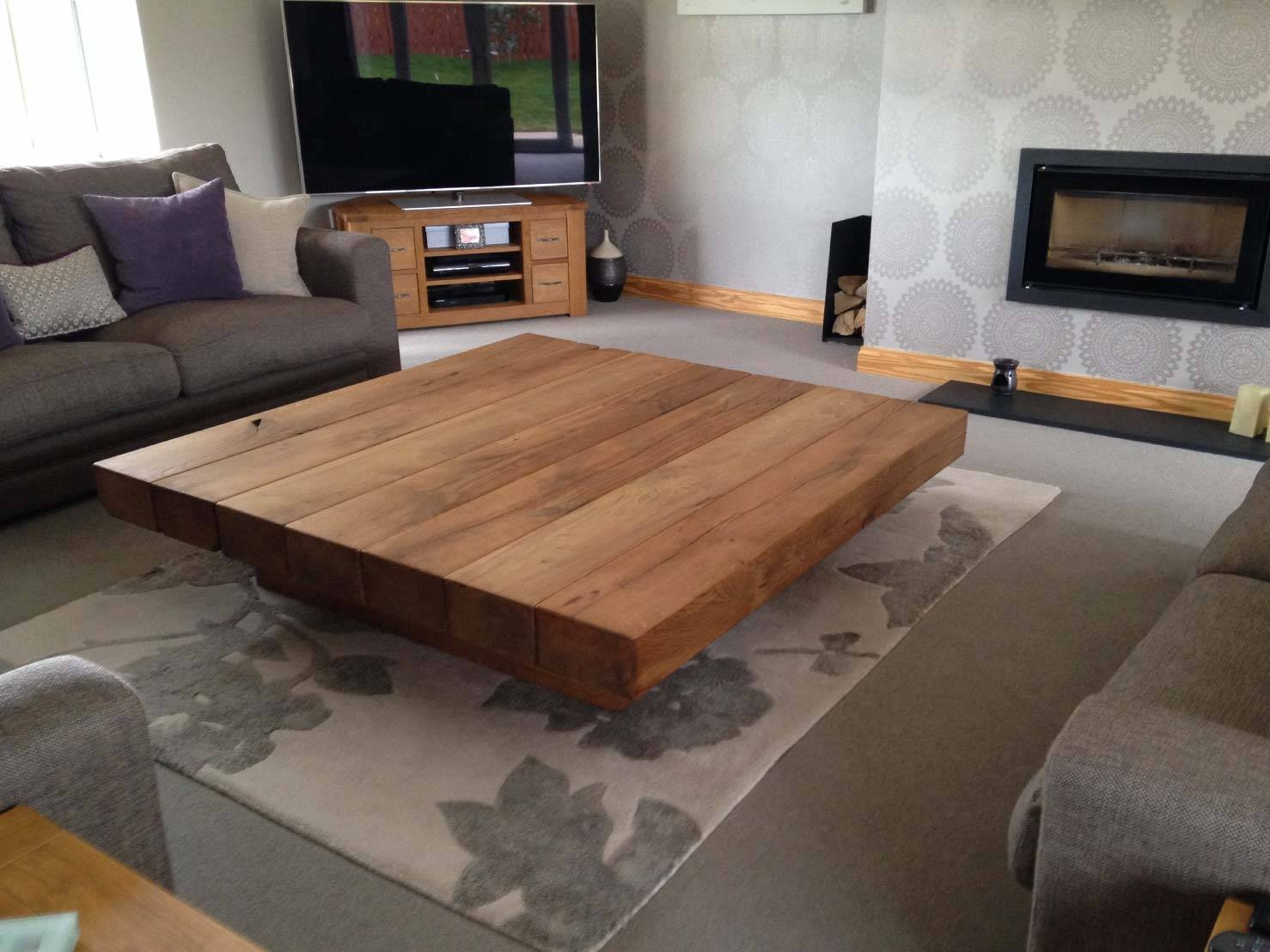 Project #201 Large Square Coffee Table | Abacus Tables for Square Oak Coffee Tables (Image 20 of 30)