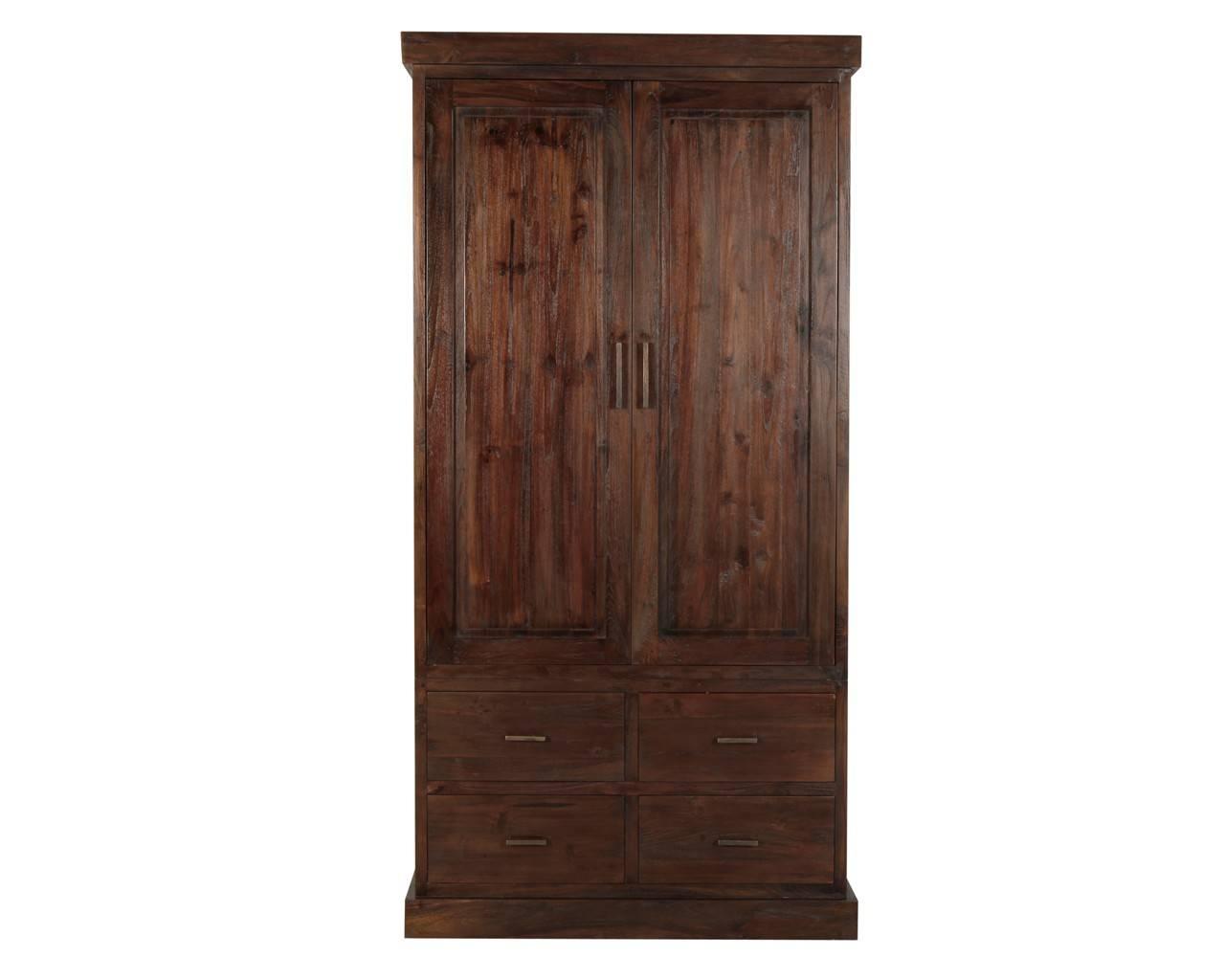 Puji: Reclaimed Teak Wardrobes | Dark Wood Gents Wardrobe in Brown Wardrobes (Image 11 of 15)