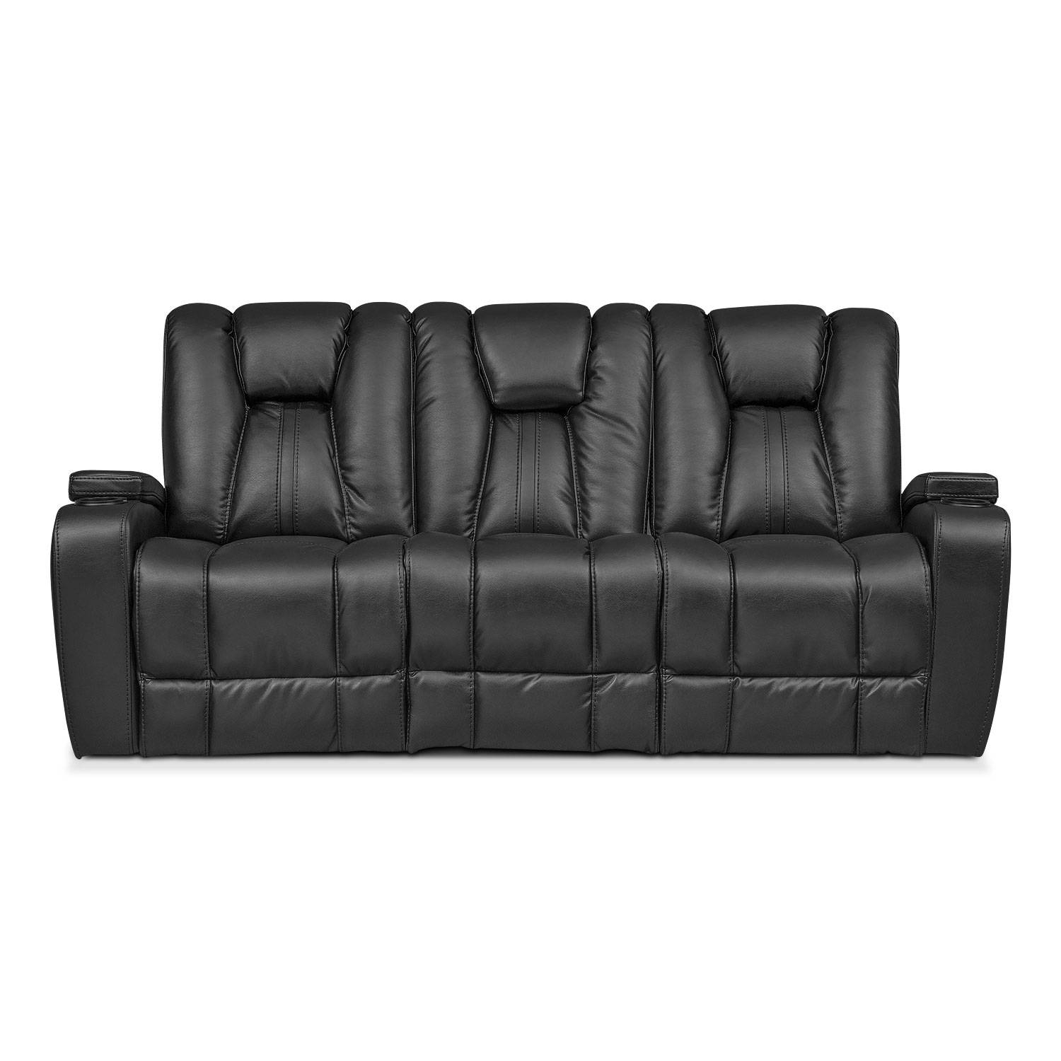 Pulsar Dual Power Reclining Sofa - Black | Value City Furniture inside 4 Seat Leather Sofas (Image 24 of 30)