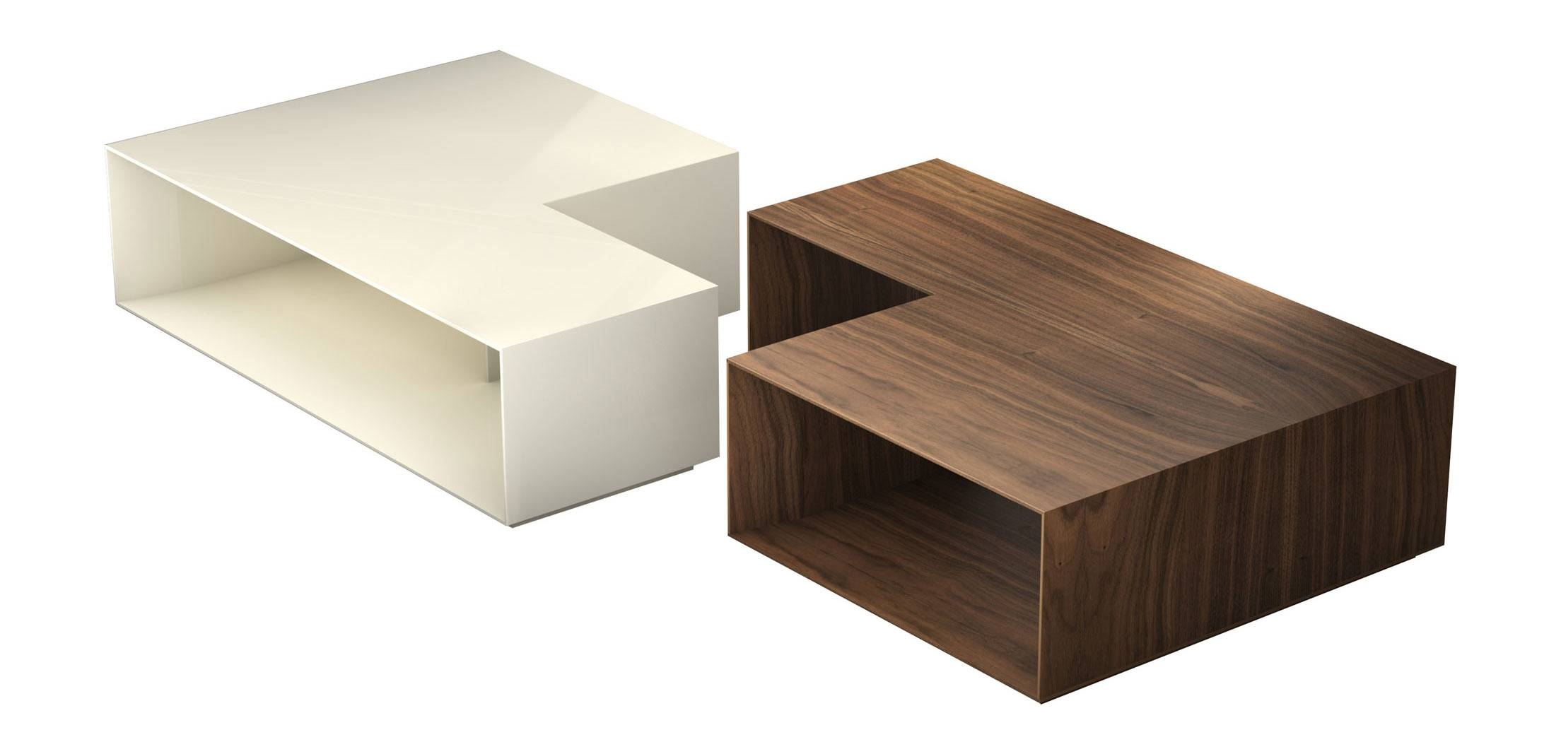 Putney Jigsaw Coffee Table Walnut And Beige Lacquermodloft With Regard To Beige Coffee Tables (View 21 of 30)