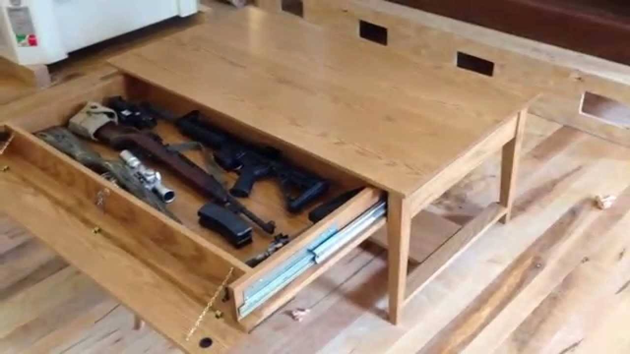 Qline Safeguard Coffee Table With Hidden Compartment – Youtube Intended For Opens Up Coffee Tables (View 8 of 30)