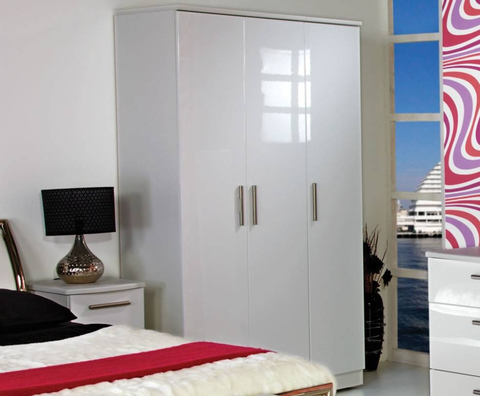 Queen 3 Door White High Gloss Wardrobes within High Gloss Doors Wardrobes (Image 12 of 15)
