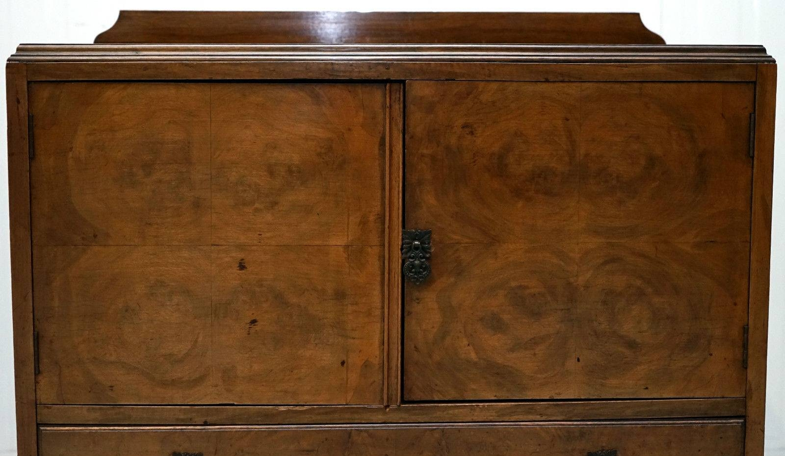 Queen Anne Walnut Small Sideboard Cabinet With Carved Cabriole throughout Small Sideboard Cabinets (Image 16 of 30)