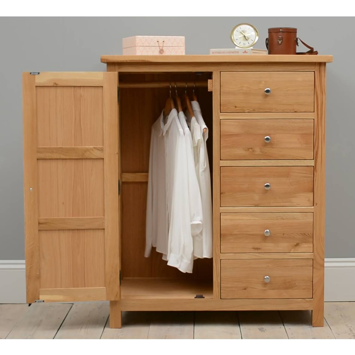 Quercus Oak Combination Wardrobe Including Free Delivery (508.011 inside Chest Of Drawers Wardrobes Combination (Image 13 of 15)