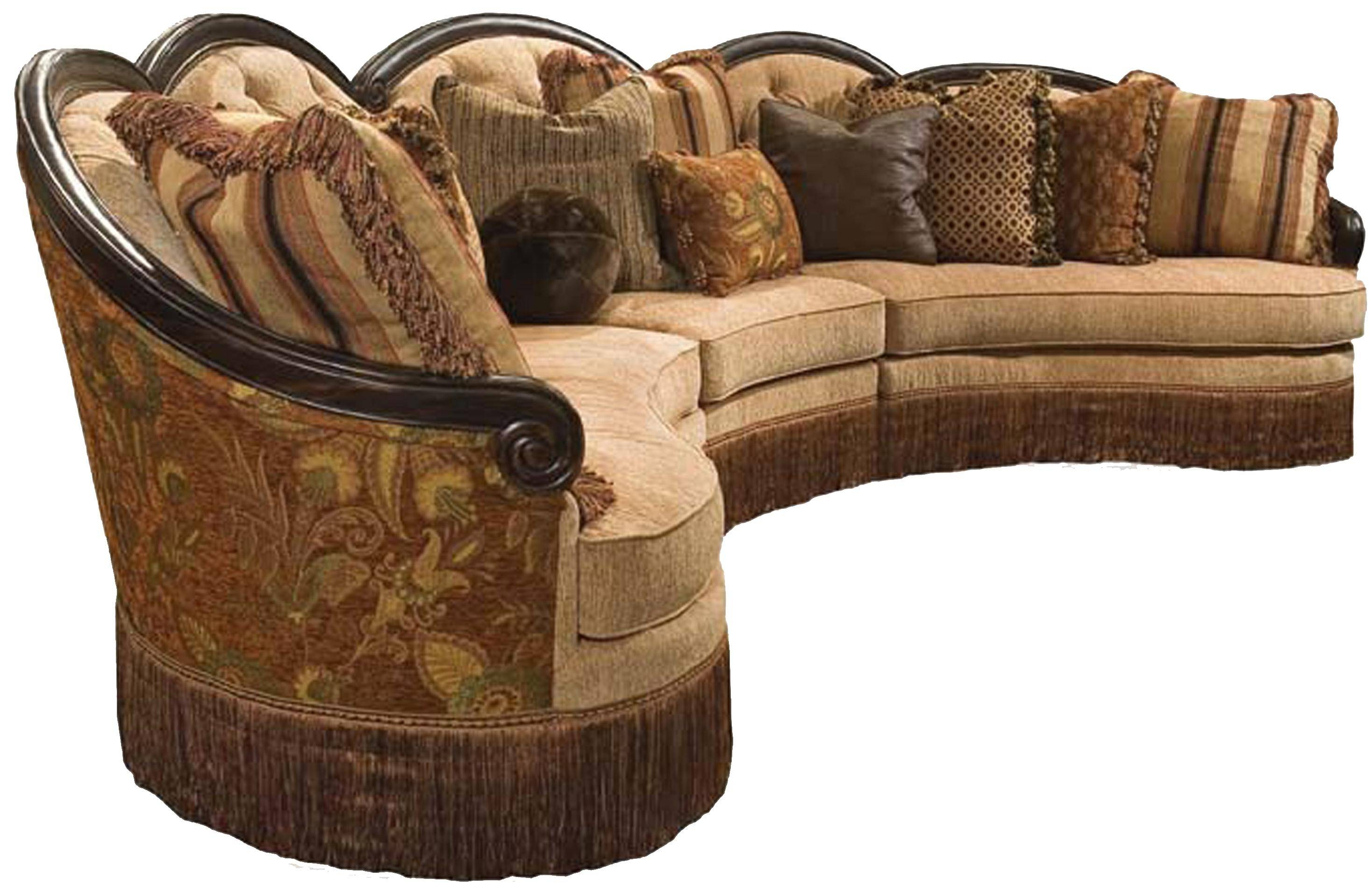 Rachlin Classics Grace Traditional 3Pc Conversational Sectional with Traditional Sectional Sofas (Image 10 of 25)