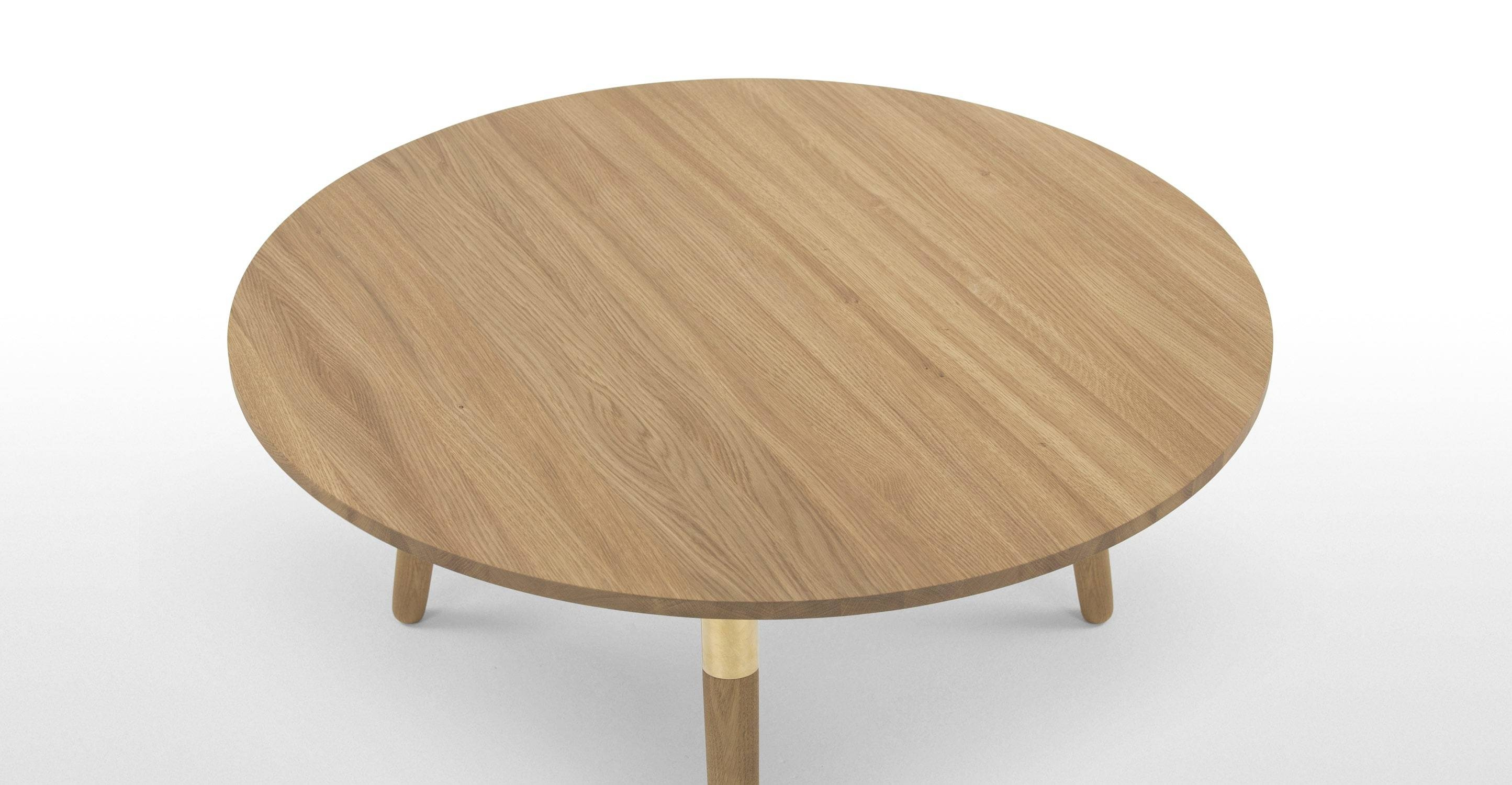 Range Round Coffee Table, Solid Oak And Brass | Made in Range Coffee Tables (Image 26 of 30)