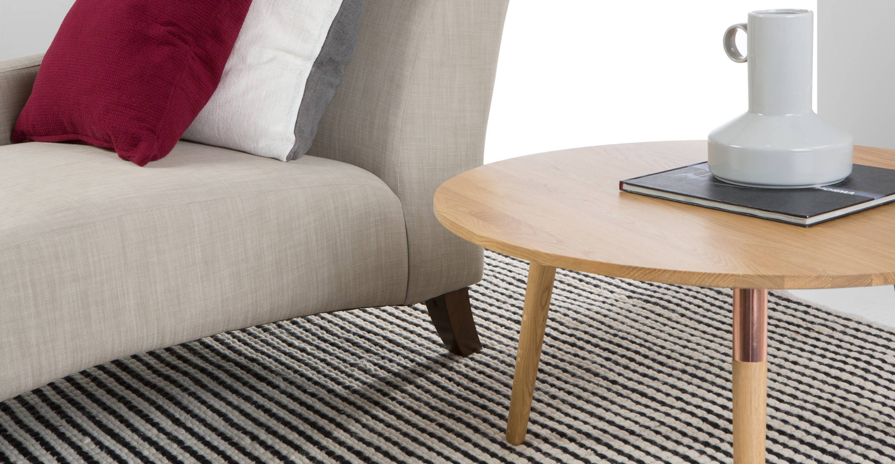 Range Round Coffee Table, Solid Oak And Copper   Made Pertaining To Range Coffee Tables (View 27 of 30)