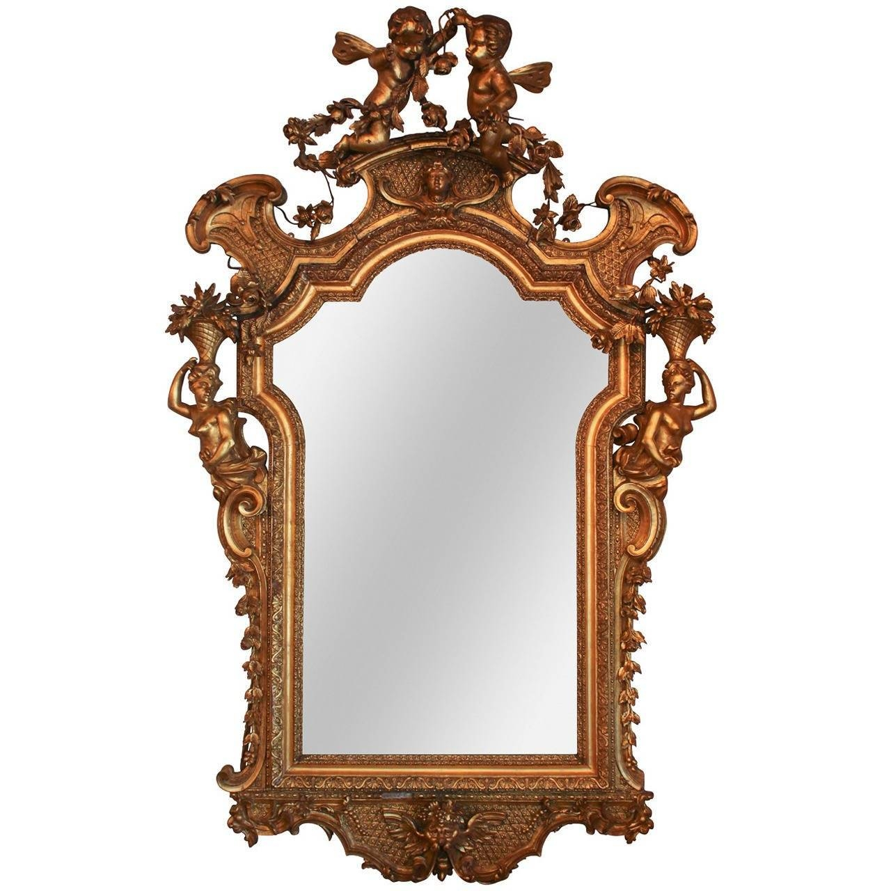 Rare 19Th C. French Rococo Giltwood Cherub Mirror For Sale At 1Stdibs inside Gold Rococo Mirrors (Image 23 of 25)