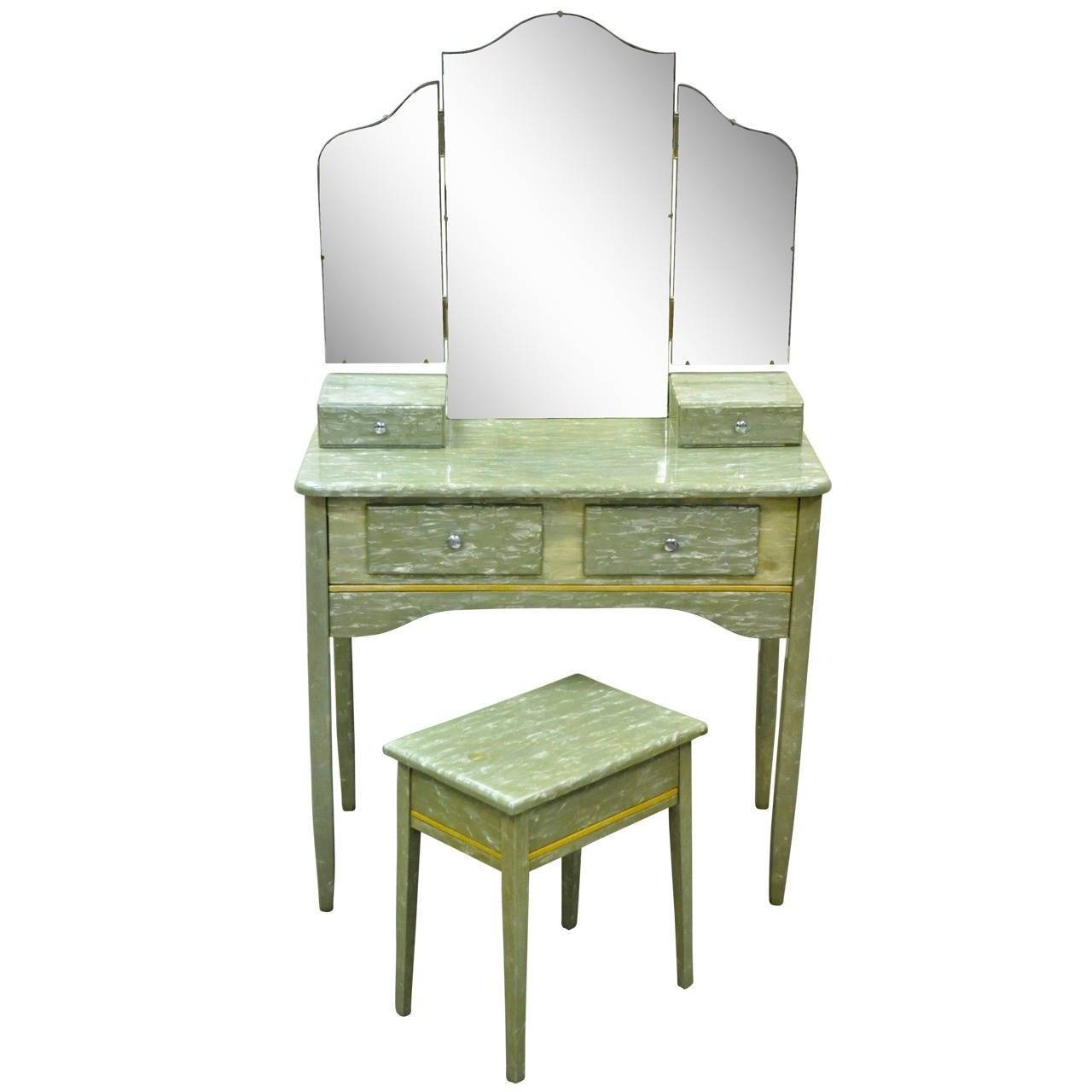 Rare Art Deco Green Celluloid Covered Vanity With Tri Fold Mirror with regard to Antique Art Deco Mirrors (Image 23 of 25)