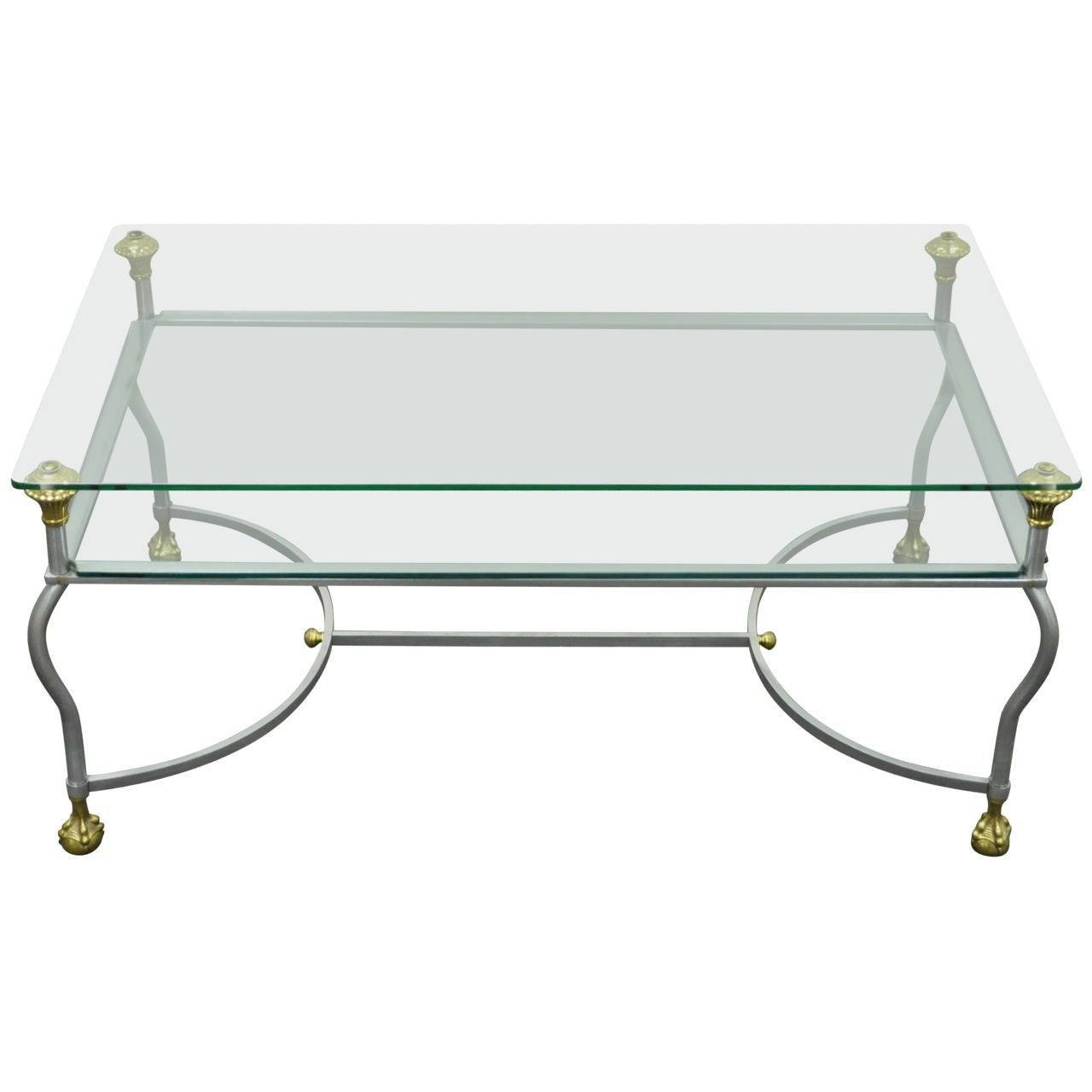 Rare Brass, Brushed Steel, And Glass Claw Foot Coffee Table After intended for Glass Steel Coffee Tables (Image 26 of 30)