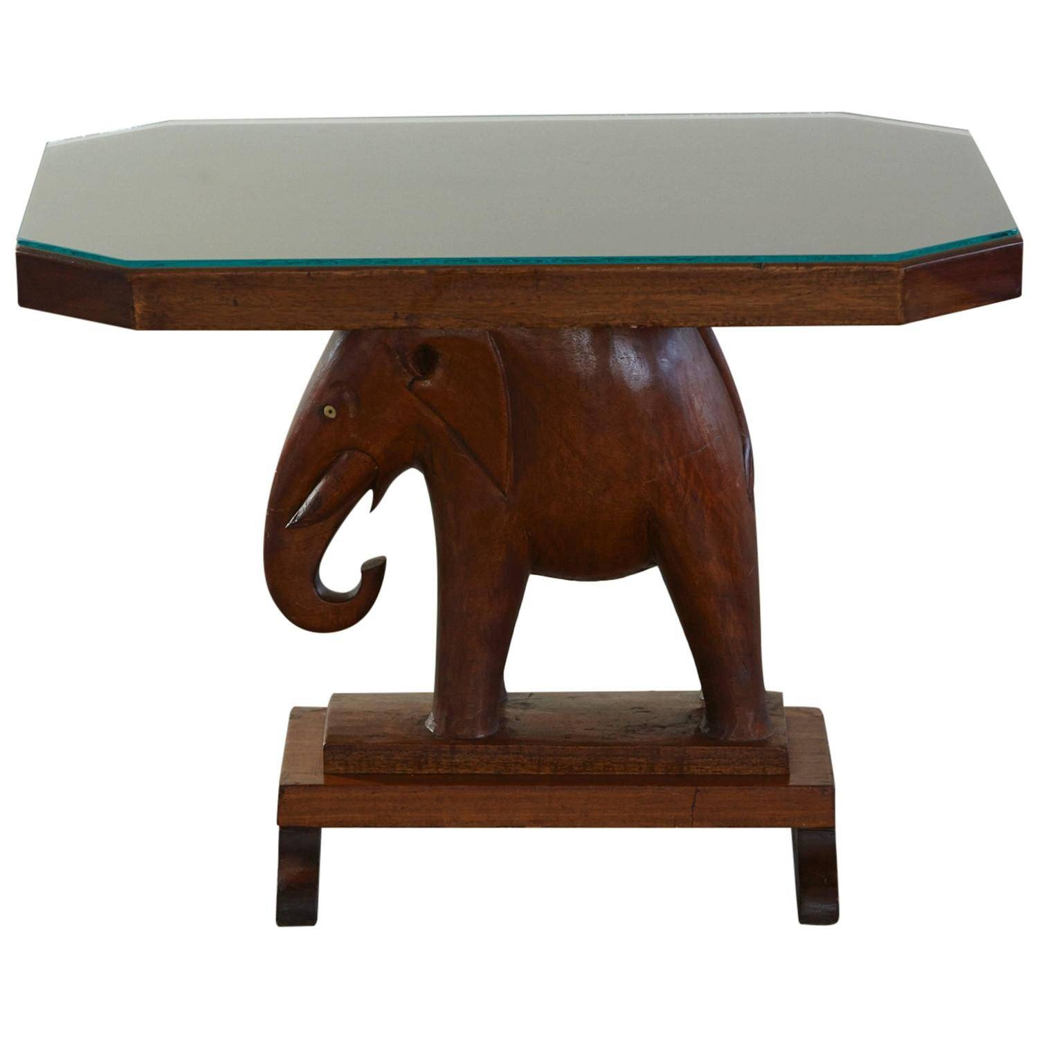 Rare Mahogany Table With Carved Elephant Base With Roosevelt intended for Elephant Coffee Tables (Image 29 of 30)