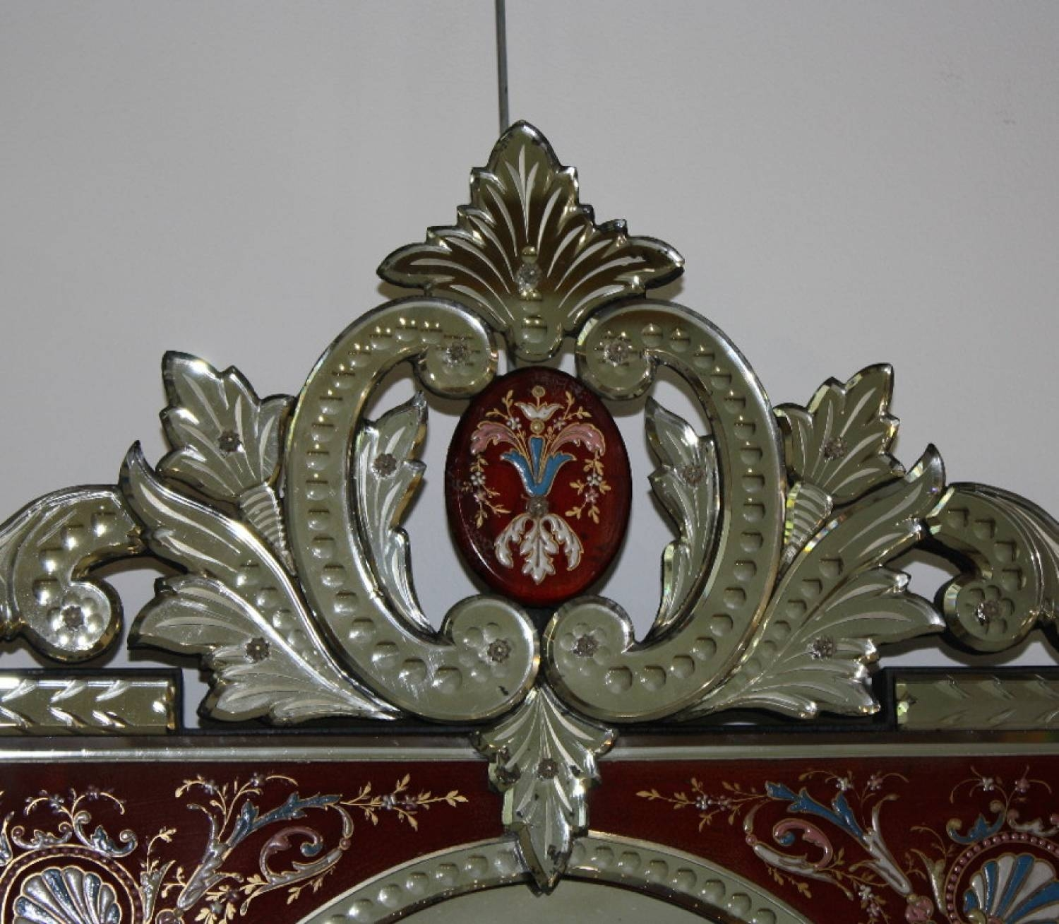 Rare Red-Framed Antique Venetian Mirror in Antique Venetian Mirrors (Image 19 of 25)