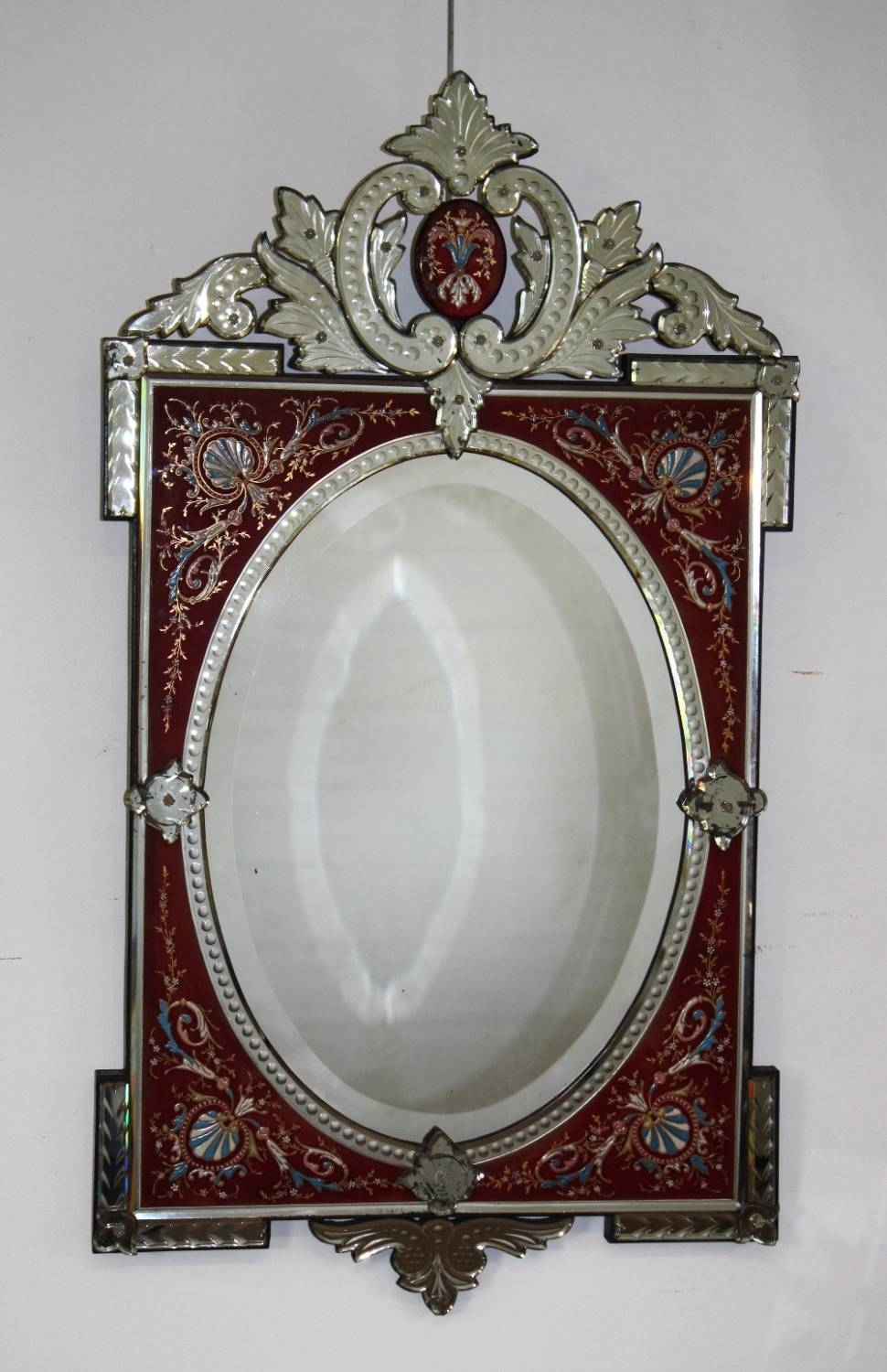 Rare Red-Framed Antique Venetian Mirror inside Venetian Antique Mirrors (Image 22 of 25)