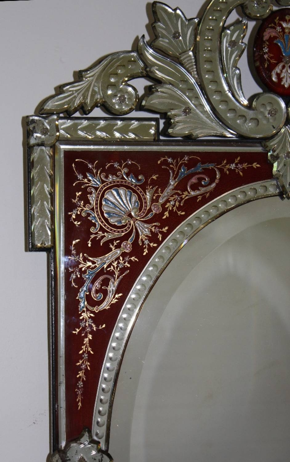 Rare Red-Framed Antique Venetian Mirror regarding Antique Venetian Mirrors (Image 20 of 25)