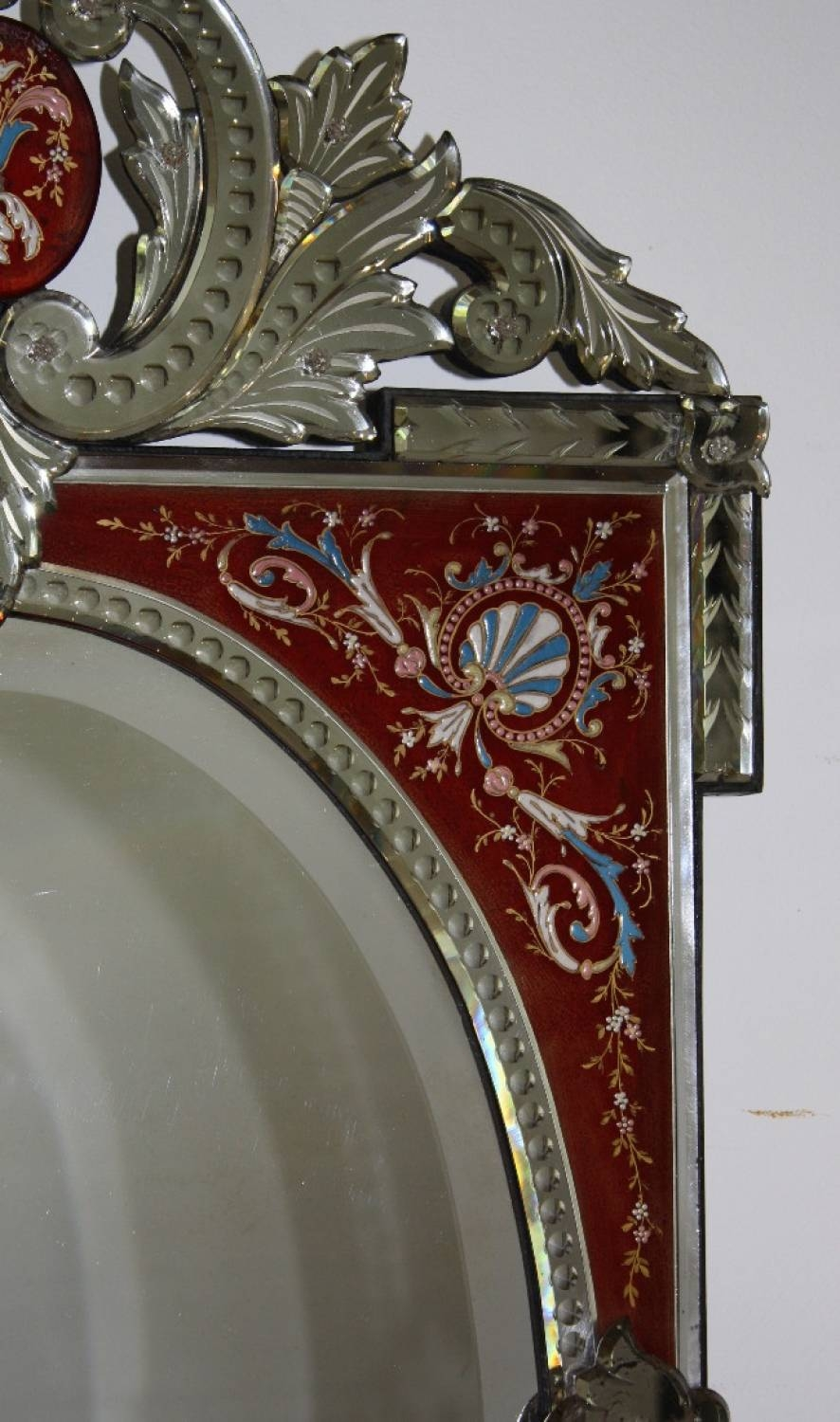 Rare Red-Framed Antique Venetian Mirror with Red Mirrors (Image 21 of 25)