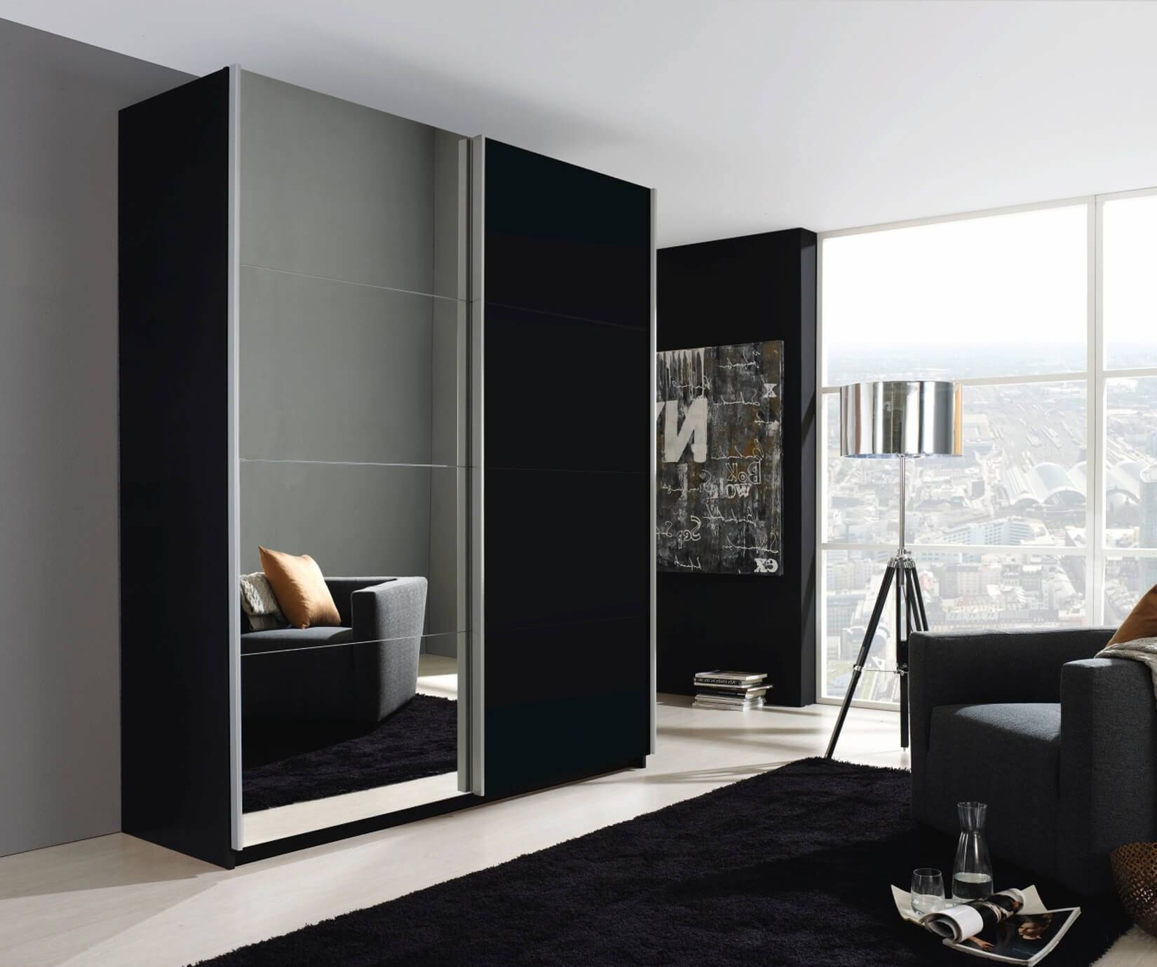 Rauch Furniture | Beluga Base 2 Door Sliding Wardrobe With for Black Wardrobes With Mirror (Image 12 of 15)