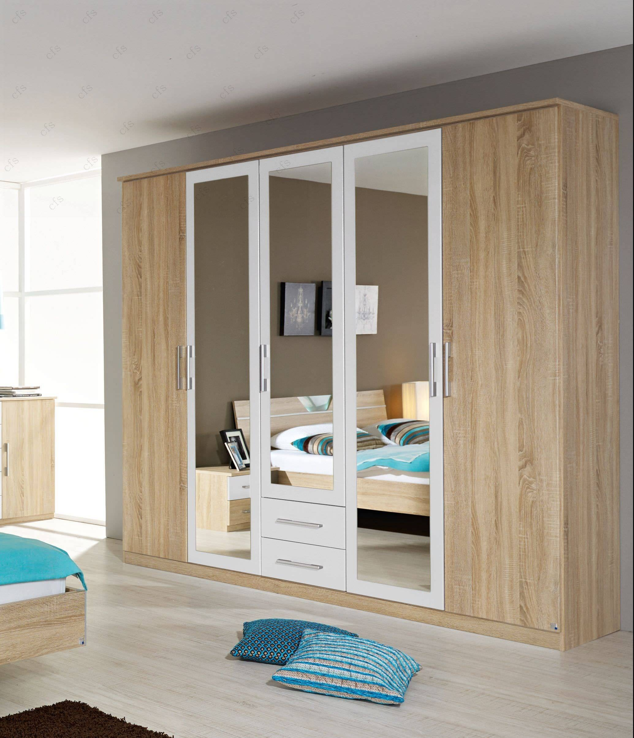 Rauch Furniture | Valence 5 Door Mirror Wardrobe | Bedsdirectuk pertaining to Mirror Wardrobes (Image 9 of 15)