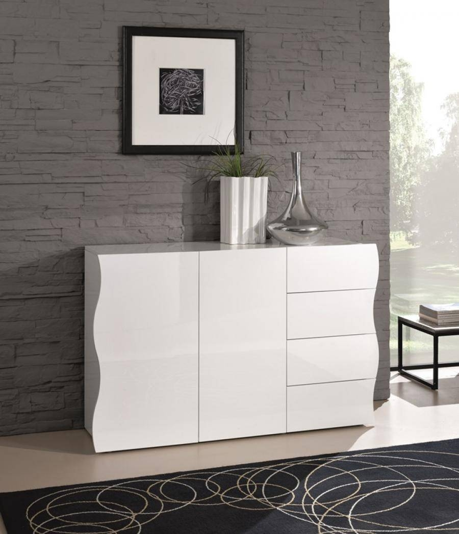 Ravenna, Modern Sideboard, 2 Doors/4 Drawers In White Gloss/matt regarding Cheap White High Gloss Sideboards (Image 19 of 30)