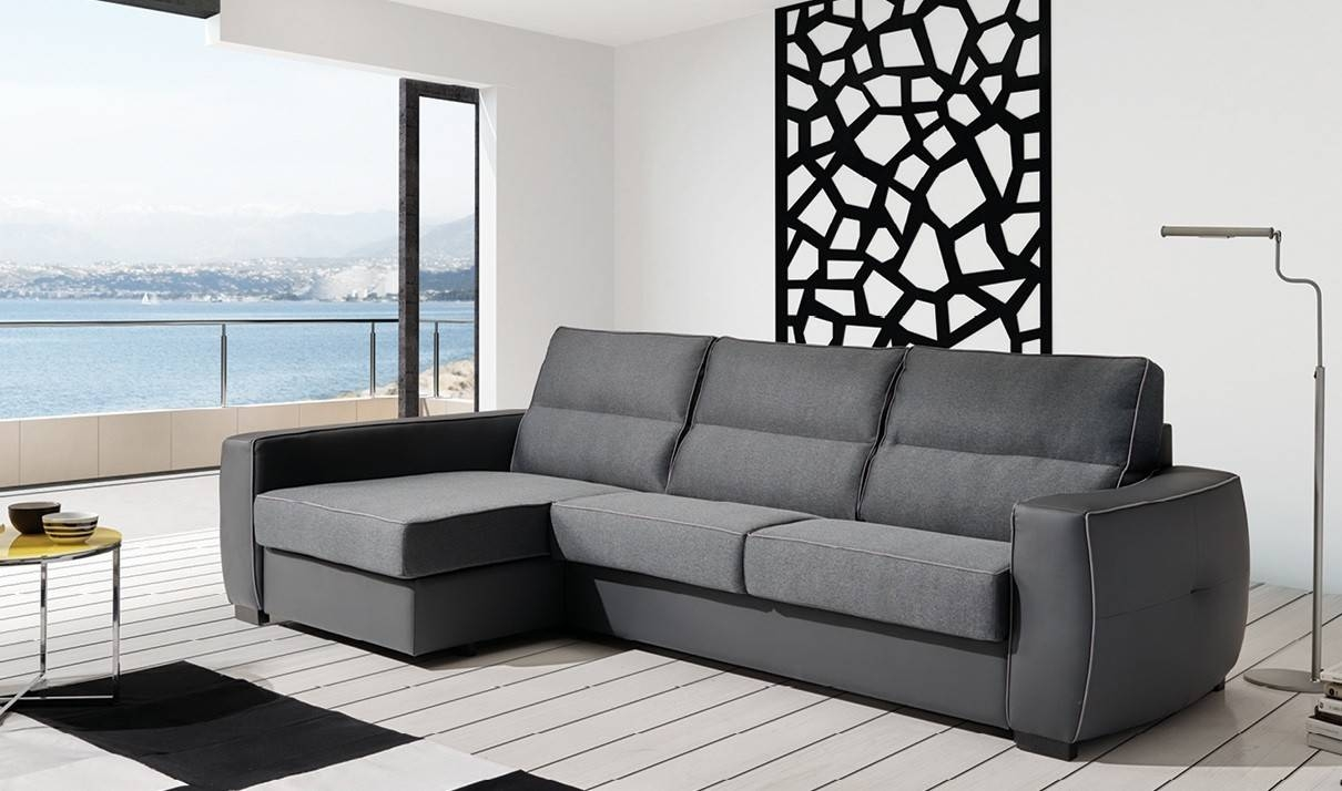 Ray Fabric Sectional Sofa W/sleeper In Grey | Free Shipping | Get within Fabric Sectional Sofa (Image 25 of 30)