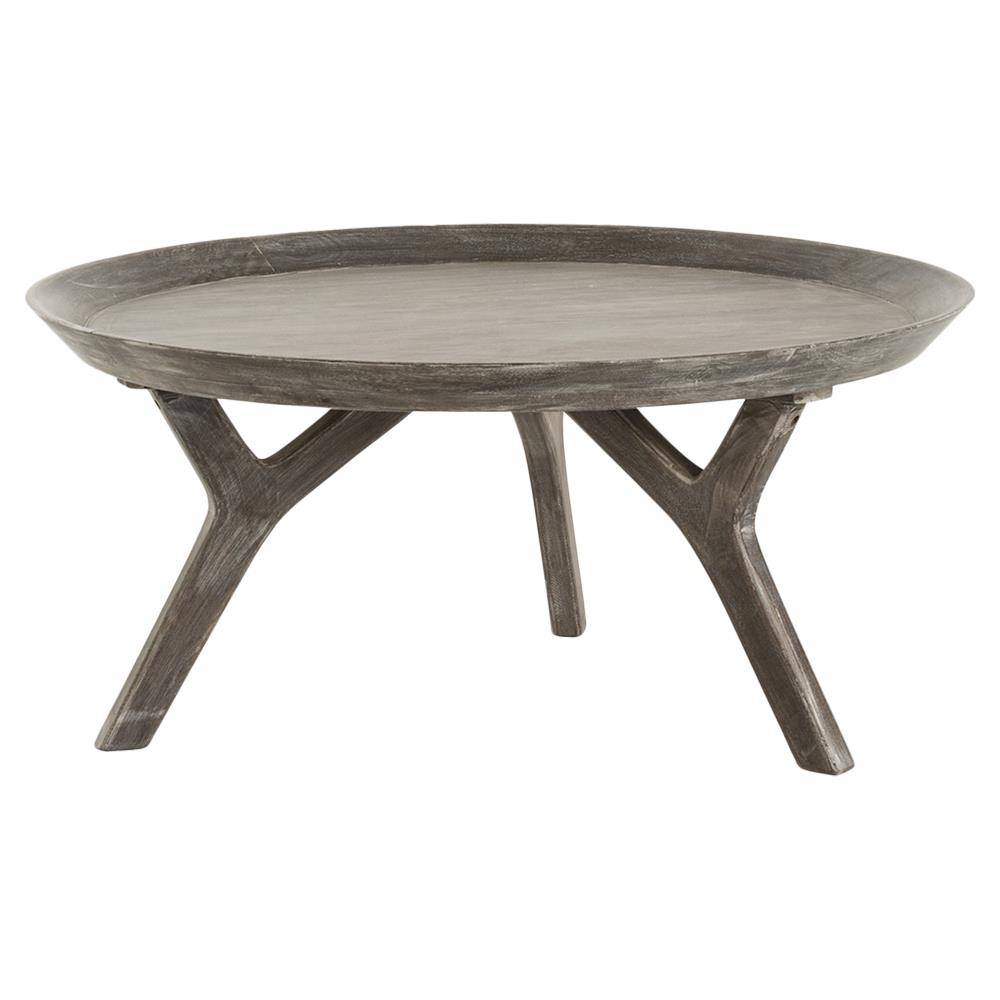 Rayvon Rustic Grey Wood Round Tray Coffee Table | Kathy Kuo Home throughout Round Tray Coffee Tables (Image 19 of 30)