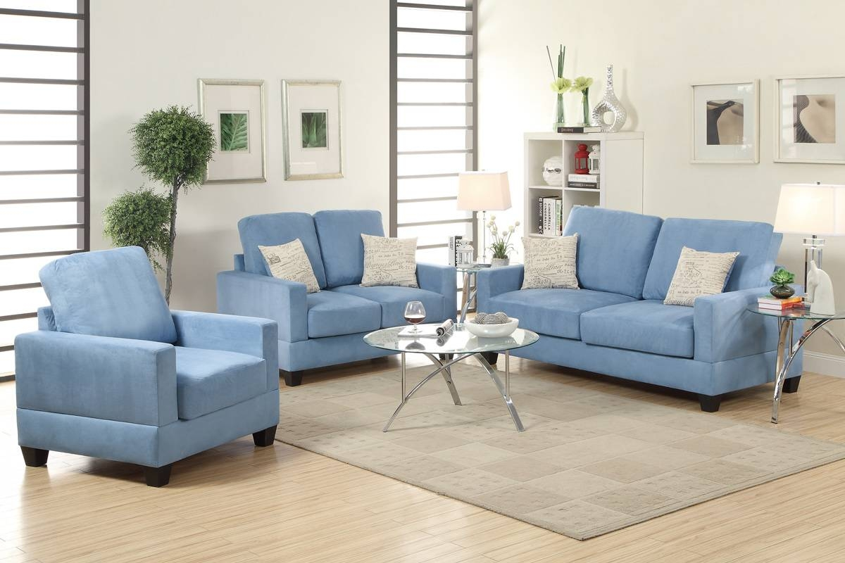 Rebel Blue Wood Sofa Loveseat And Chair Set – Steal A Sofa With Sofa Loveseat And Chair Set (View 24 of 30)